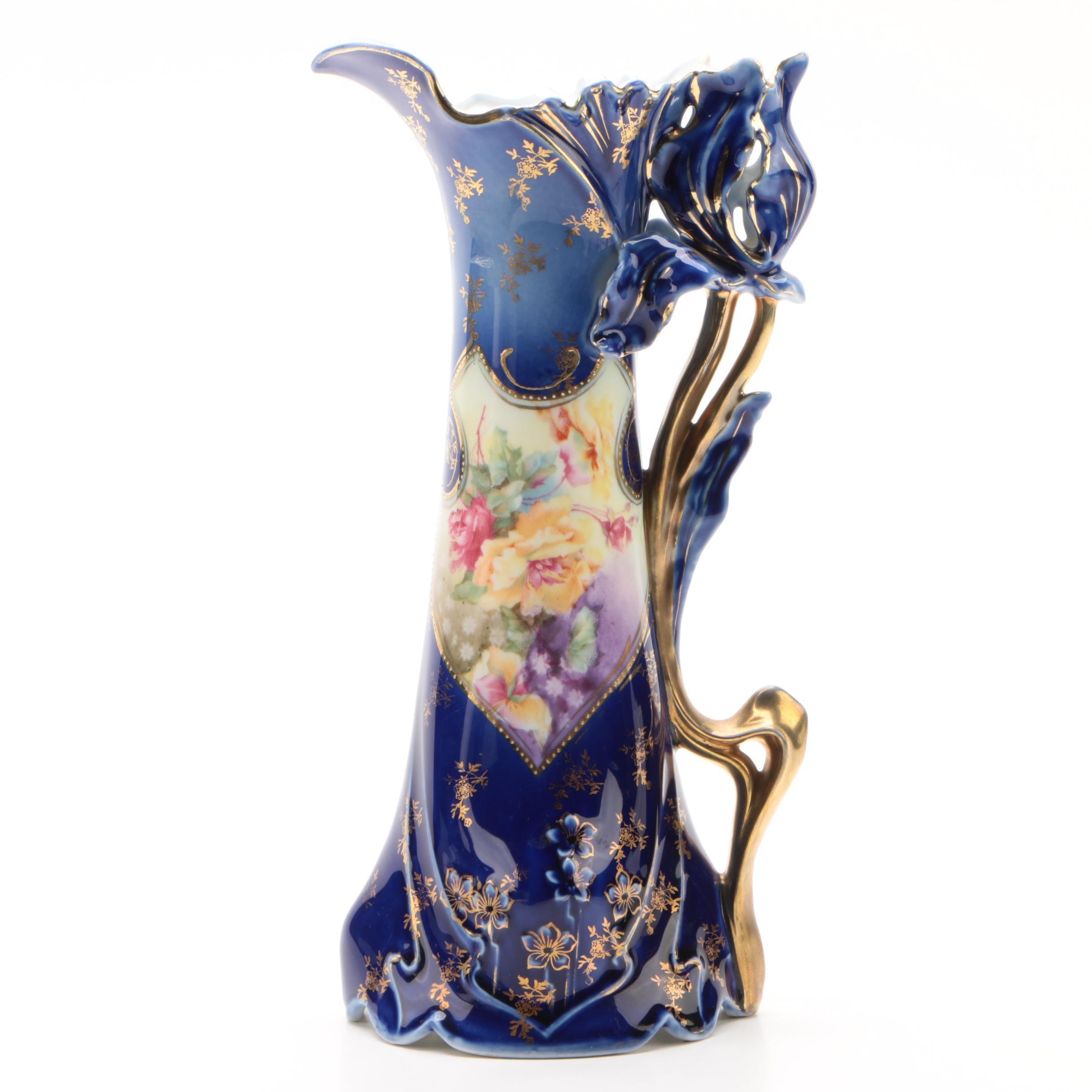 Art Nouveau Style German Porcelain Pitcher