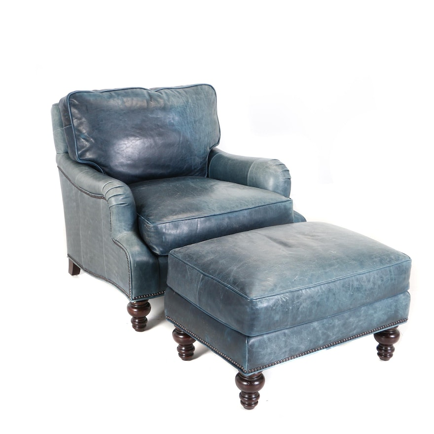 Cool Contemporary Blue Leather Armchair And Ottoman By Tommy Bahama Unemploymentrelief Wooden Chair Designs For Living Room Unemploymentrelieforg
