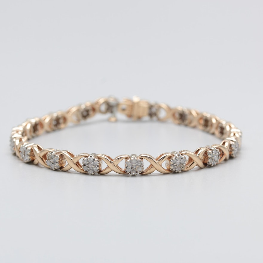 14k Yellow Gold X And O Diamond Bracelet