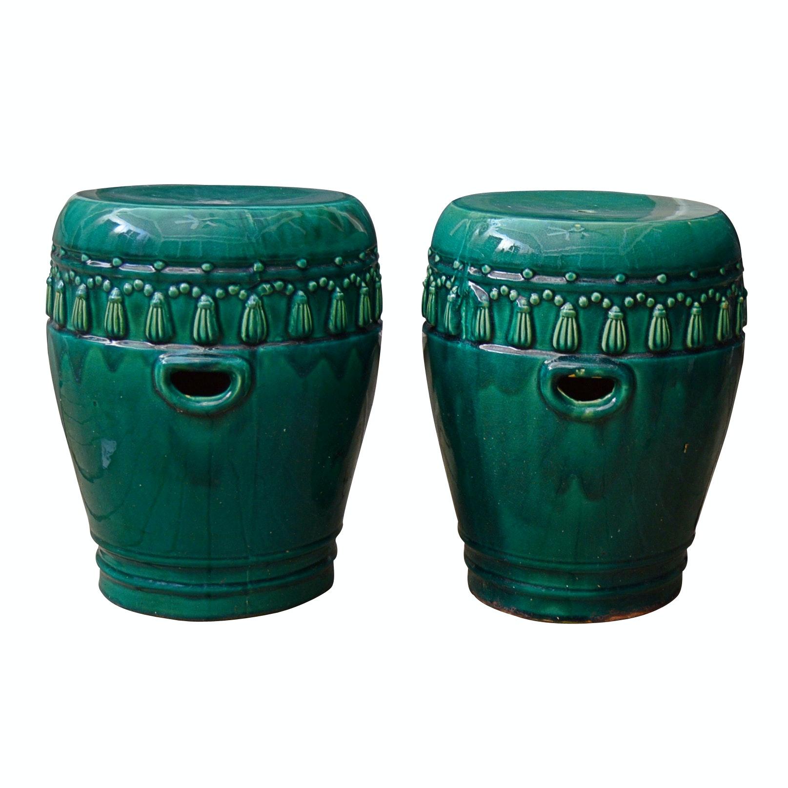Pair of Ceramic Garden Stools