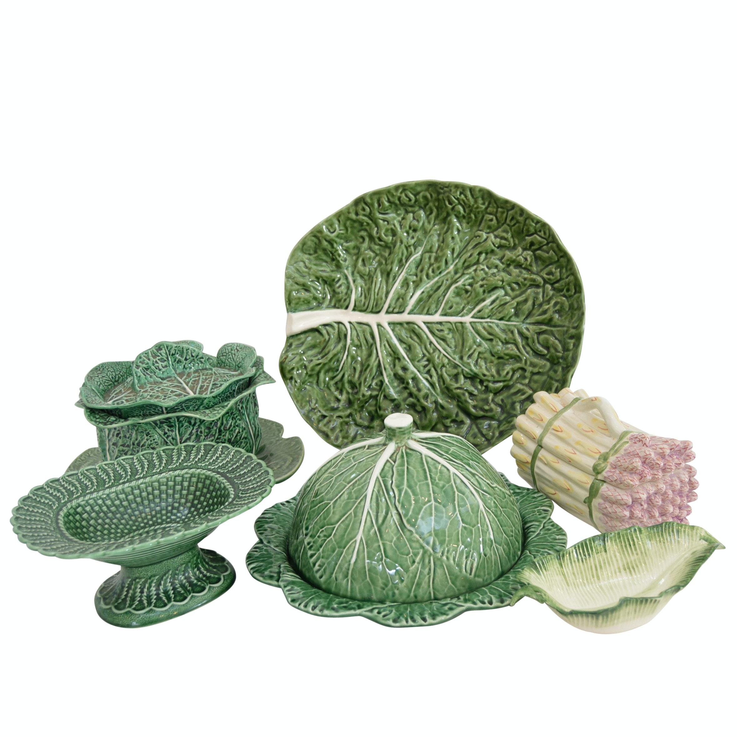 Portuguese Majolica Cabbage Leaf Serveware