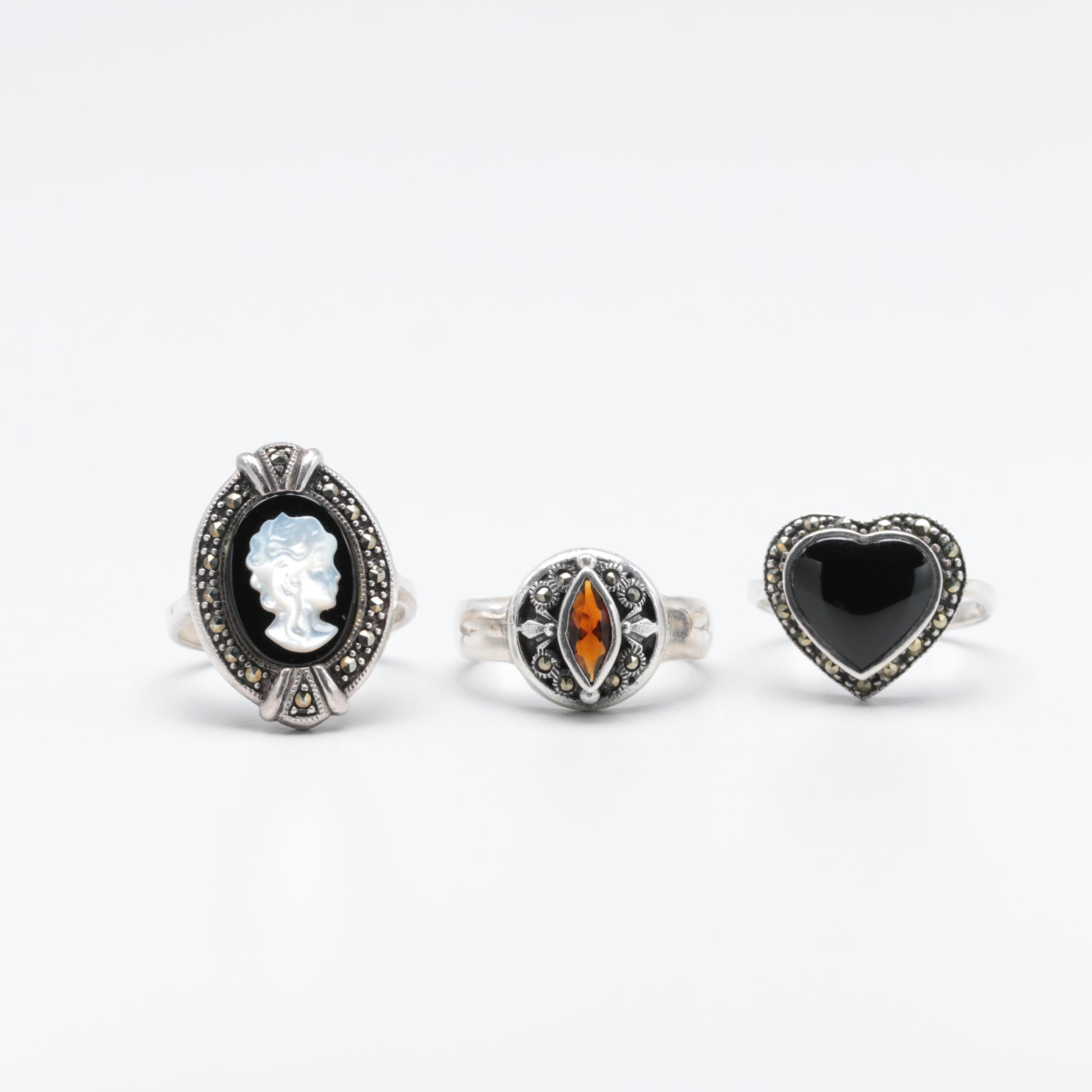 Sterling Silver Garnet, Black Onyx and Marcasite Rings
