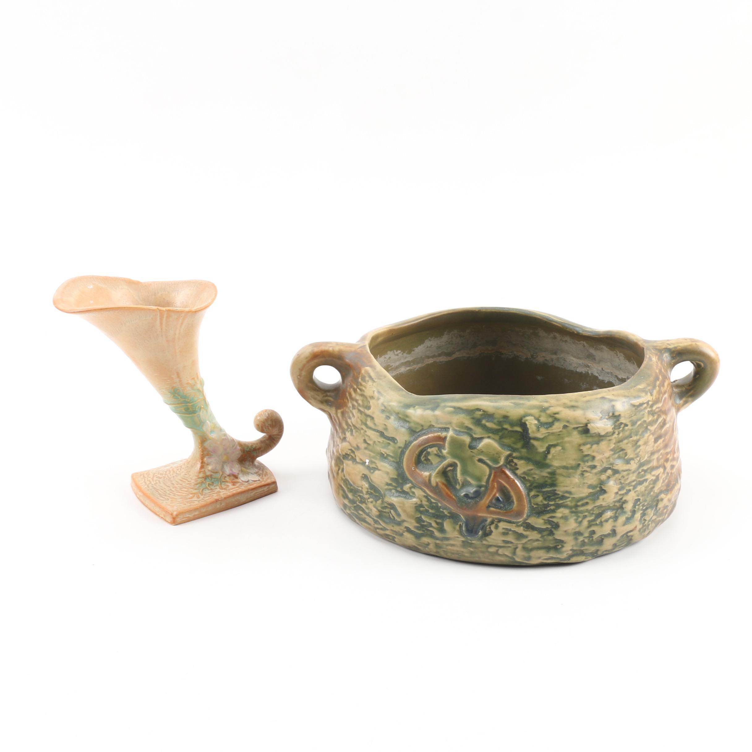 """Roseville """"Cosmos"""" Cornucopia Vase and """"Imperial I"""" Jardiniere"""