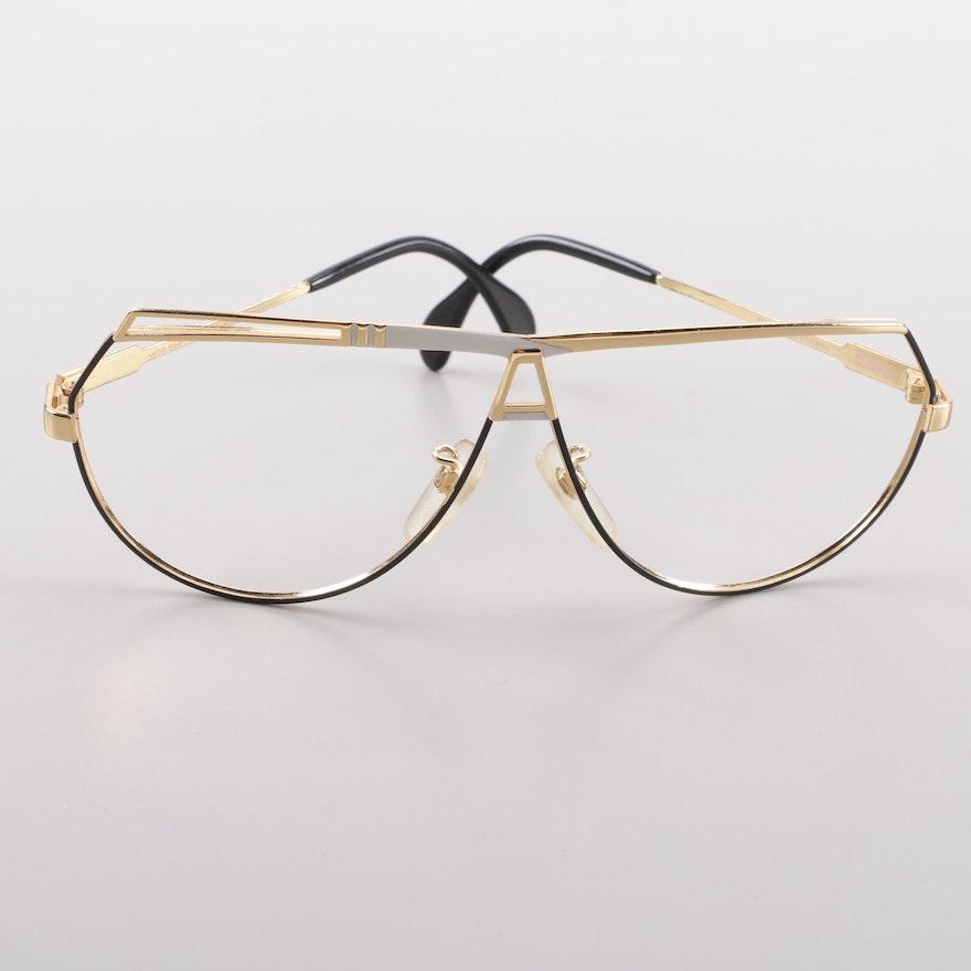 50556a20c3ca 1980s Vintage Cazal 954 Gold Tone Flat Top Eyewear Frames