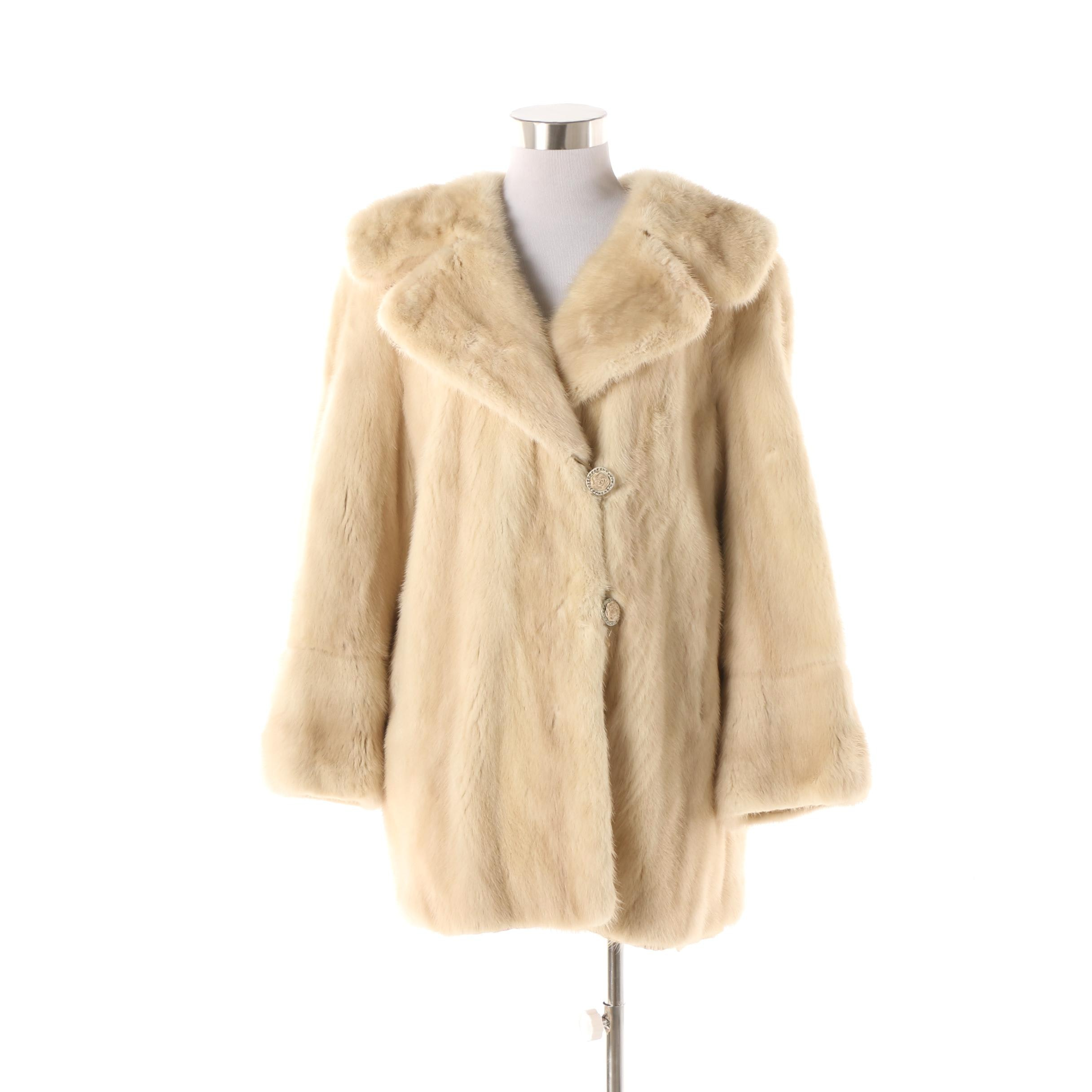 Vintage G. Pappas Blonde Mink Fur Coat with Rose Buttons