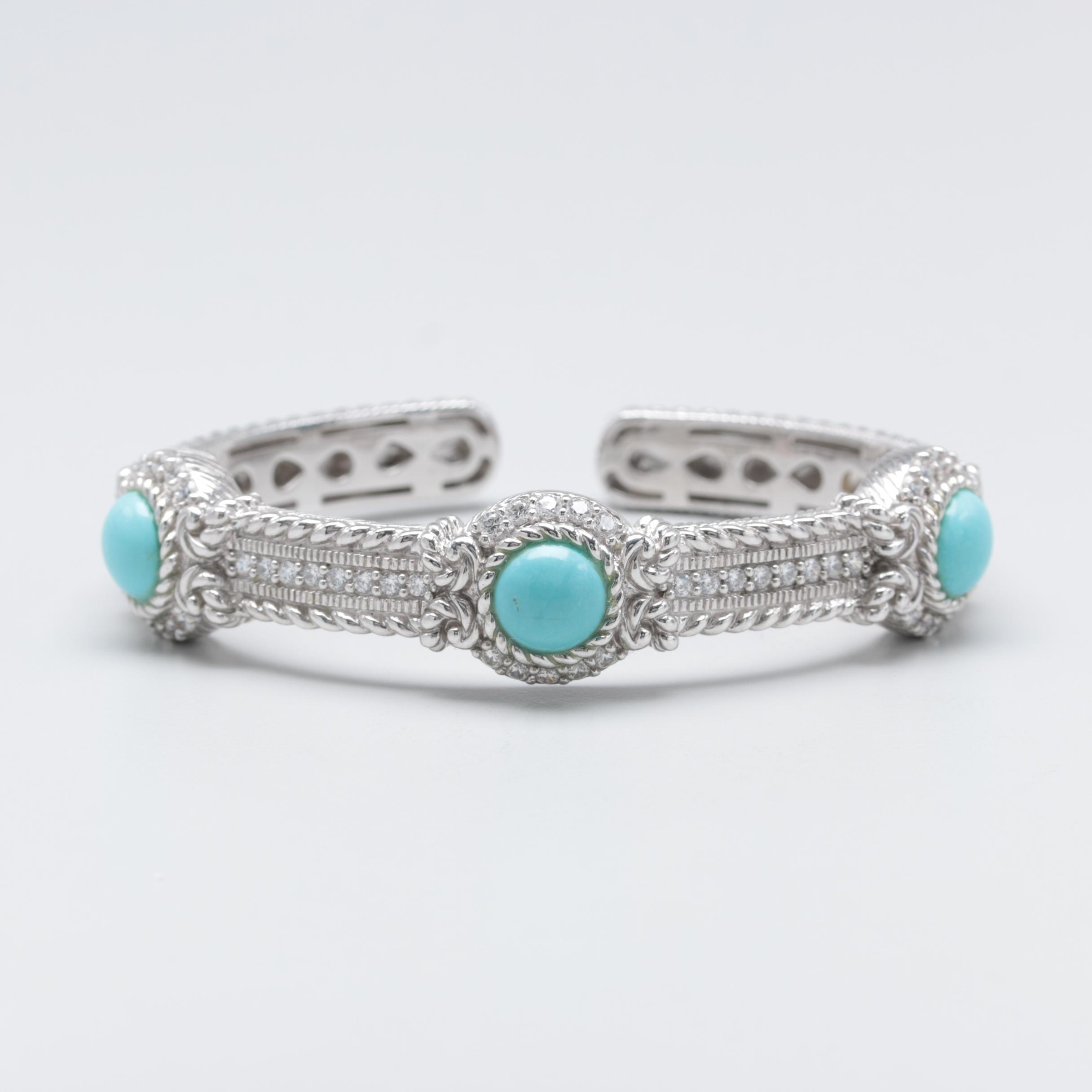 Judith Ripka Sterling Silver Imitation Turquoise and Cubic Zirconia Bracelet