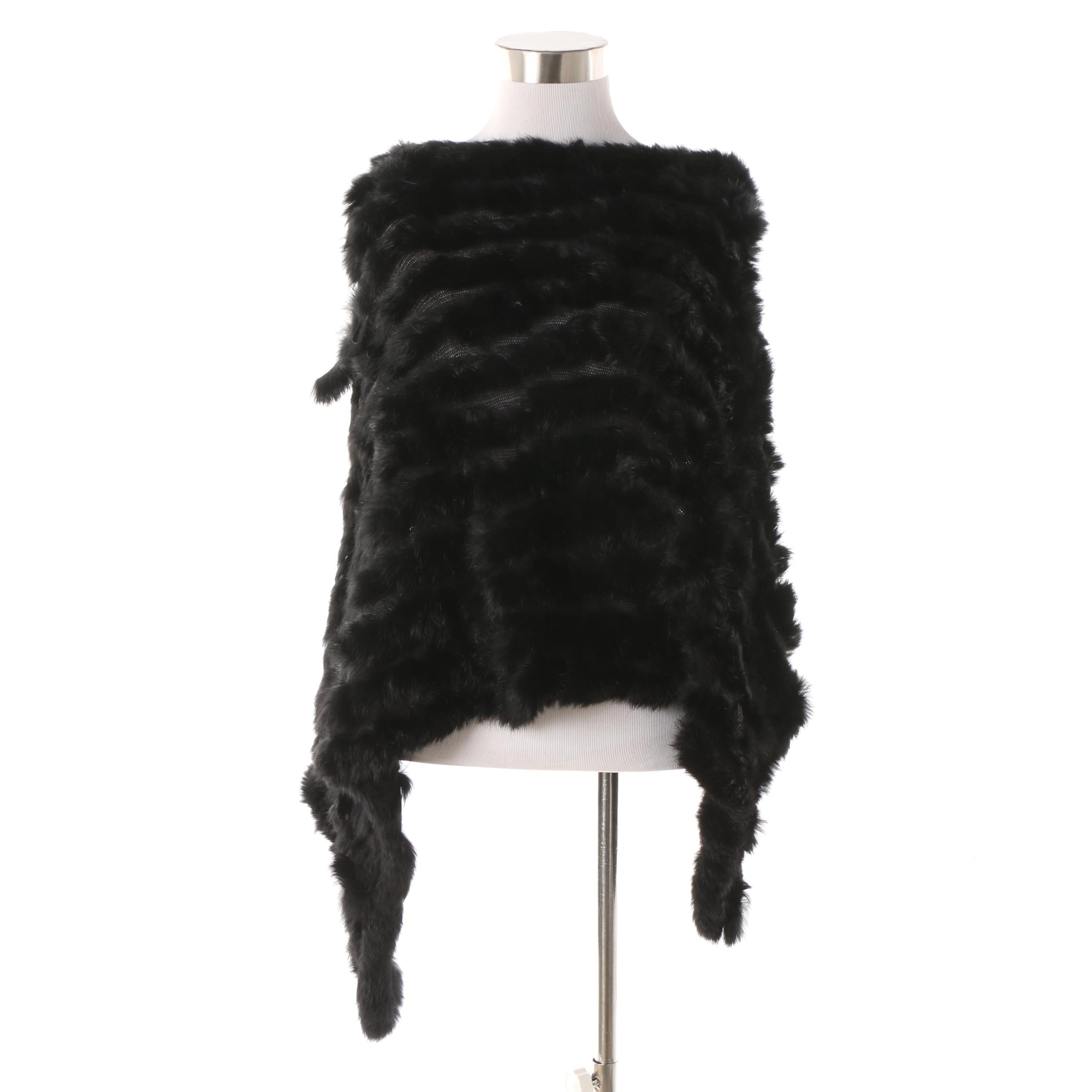 Black Rabbit Fur and Knit Poncho