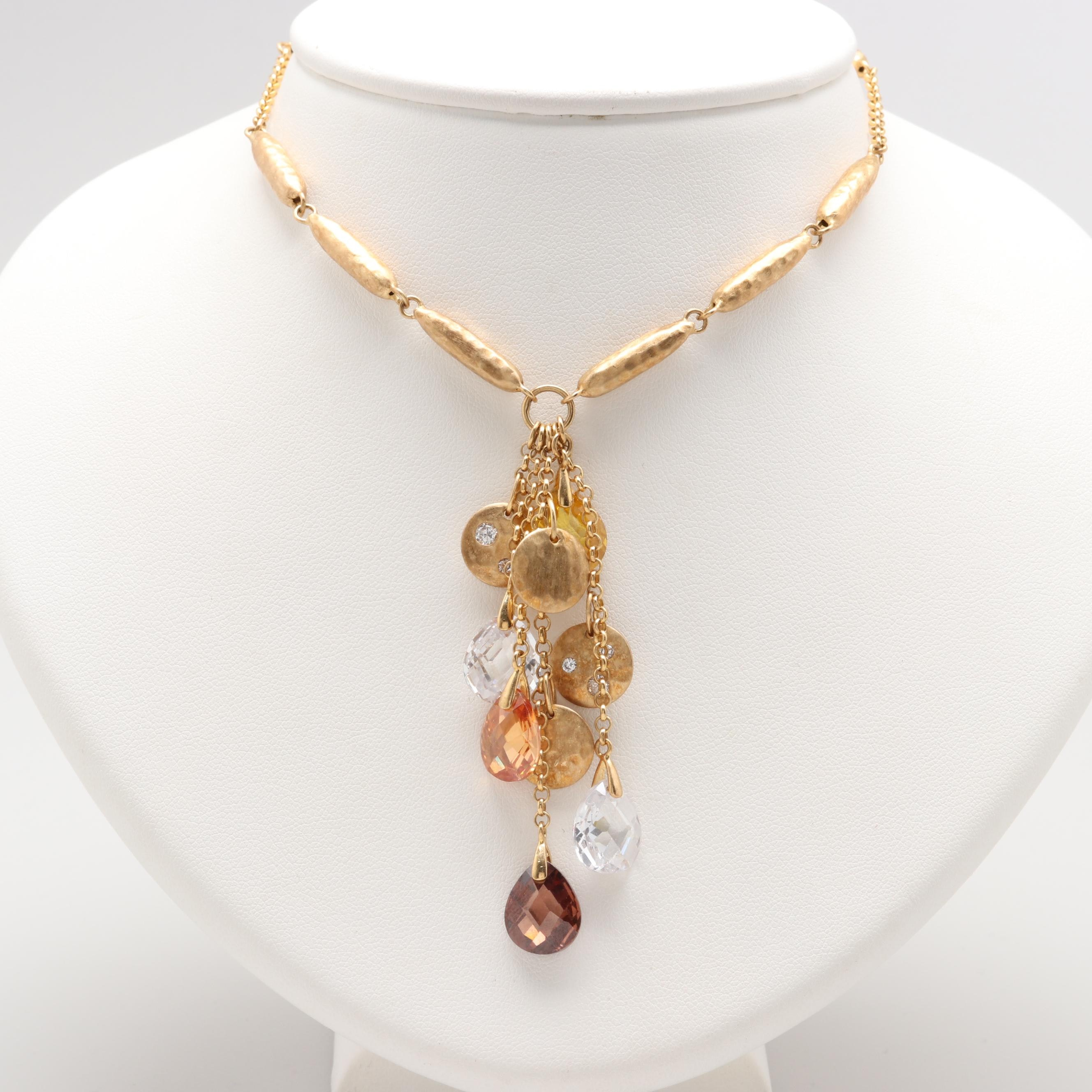 Gold Tone Sterling Silver Cubic Zirconia and Glass Necklace