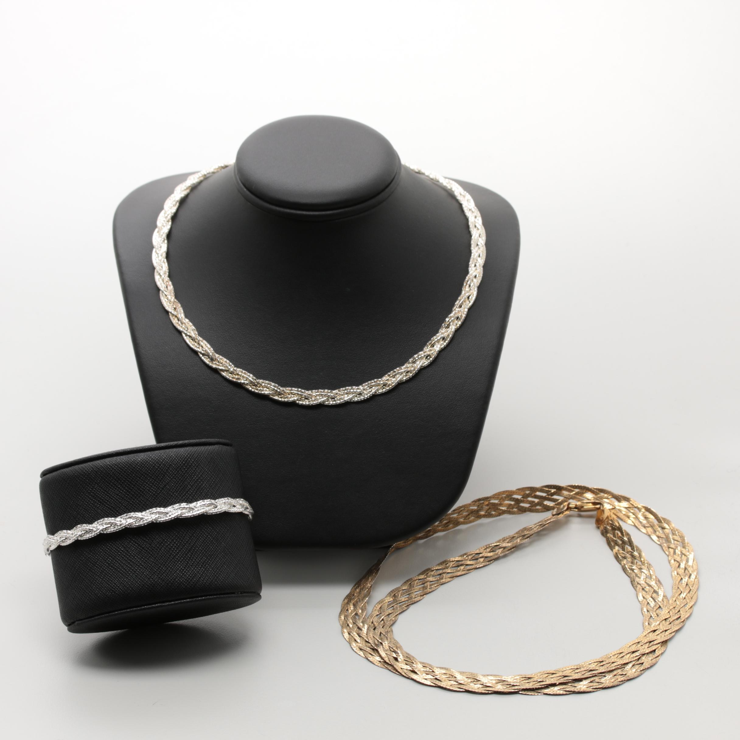 Braided Sterling Silver Necklaces and Bracelet