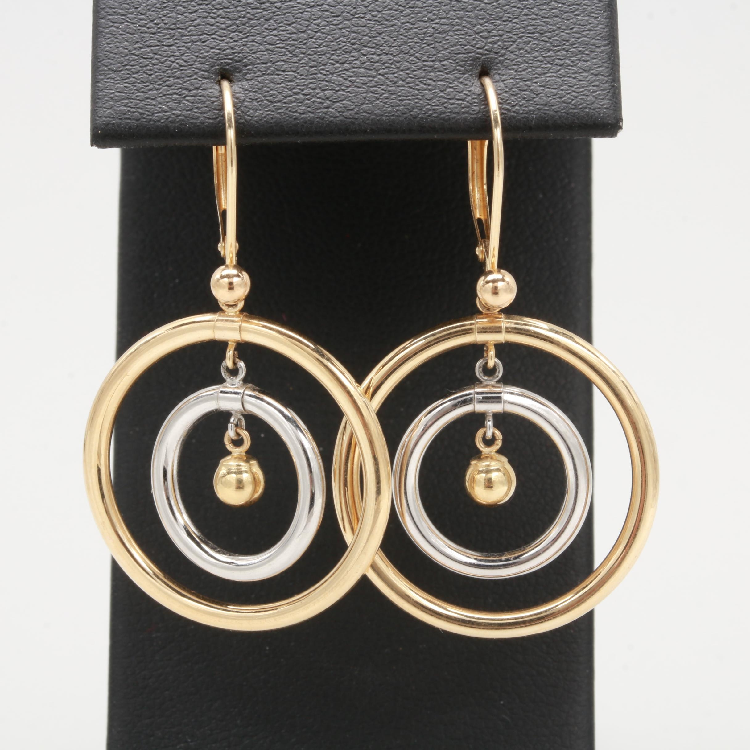 14K Yellow and White Gold Circle Drop Earrings