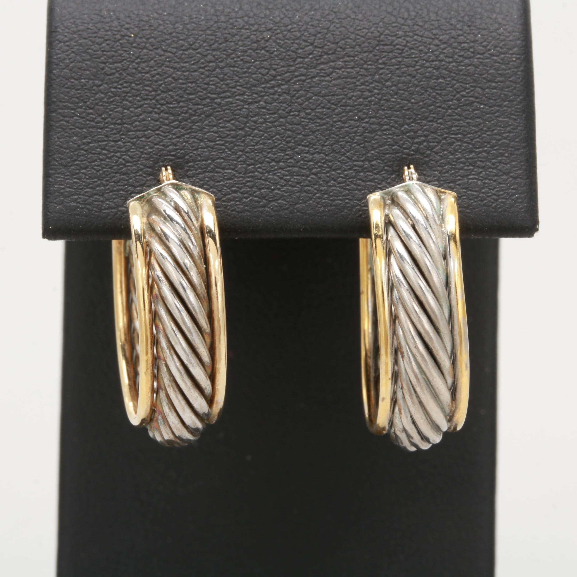 Sterling Silver and 14K Yellow Gold Hoop Earrings