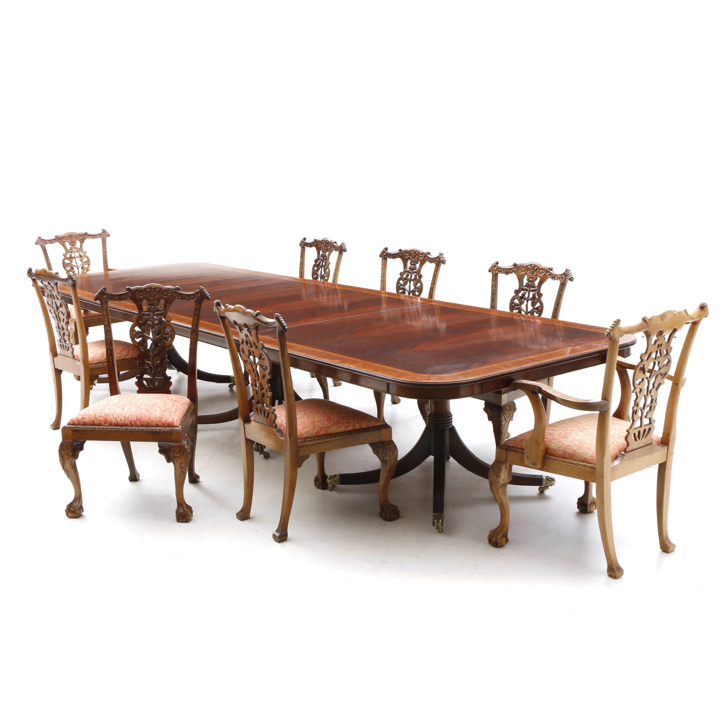 Chippendale Style Mahogany Dining Table and Eight Chairs, 20th Century