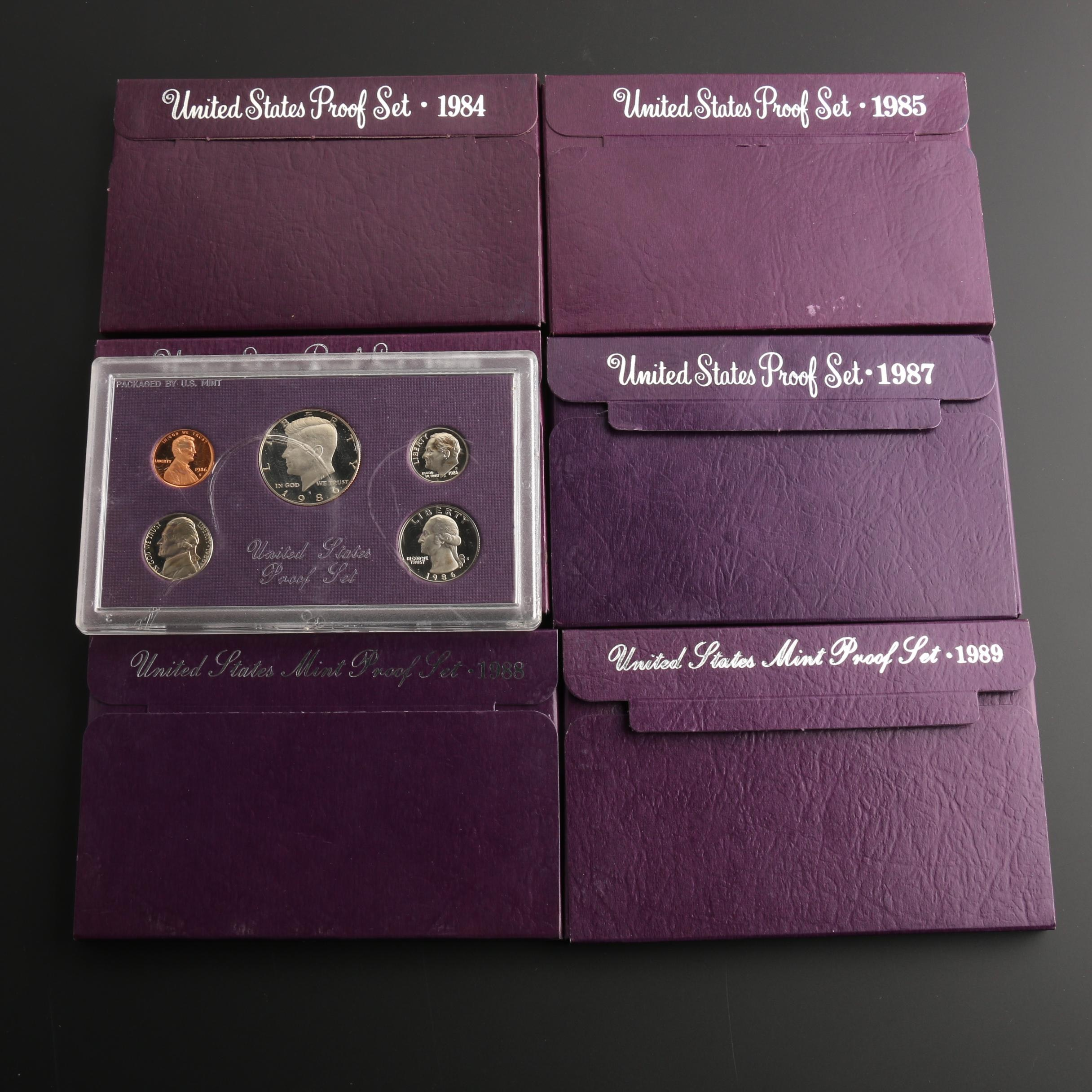 Group of Seven U.S. Mint Proof Sets, 1984 to 1989