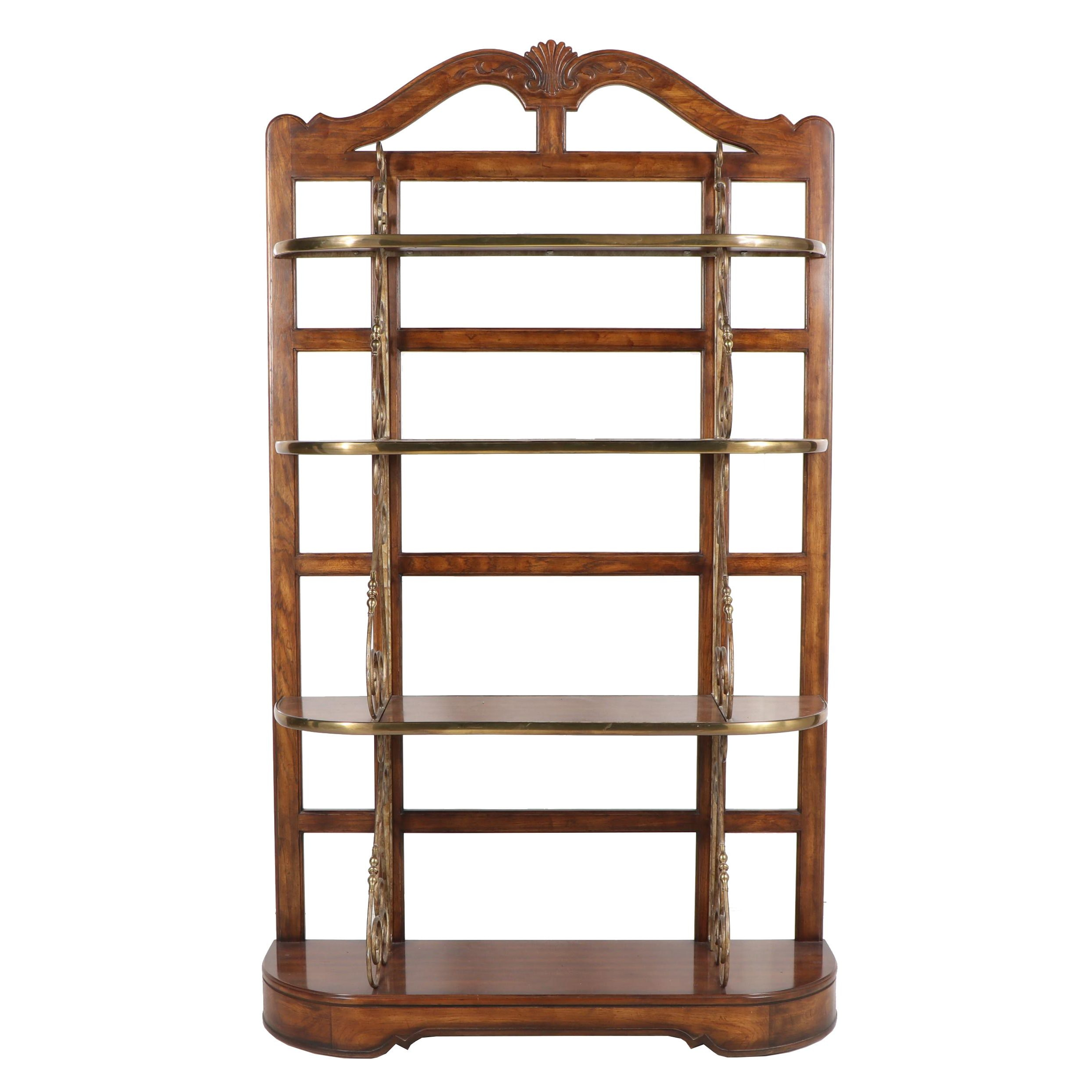 French Provincial Style Pecan and Brass Étagère by Drexel-Heritage, Late 20th C.