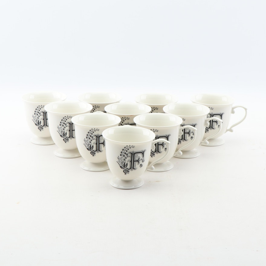 Monogrammed Footed Ceramic Cups with Scroll Handles