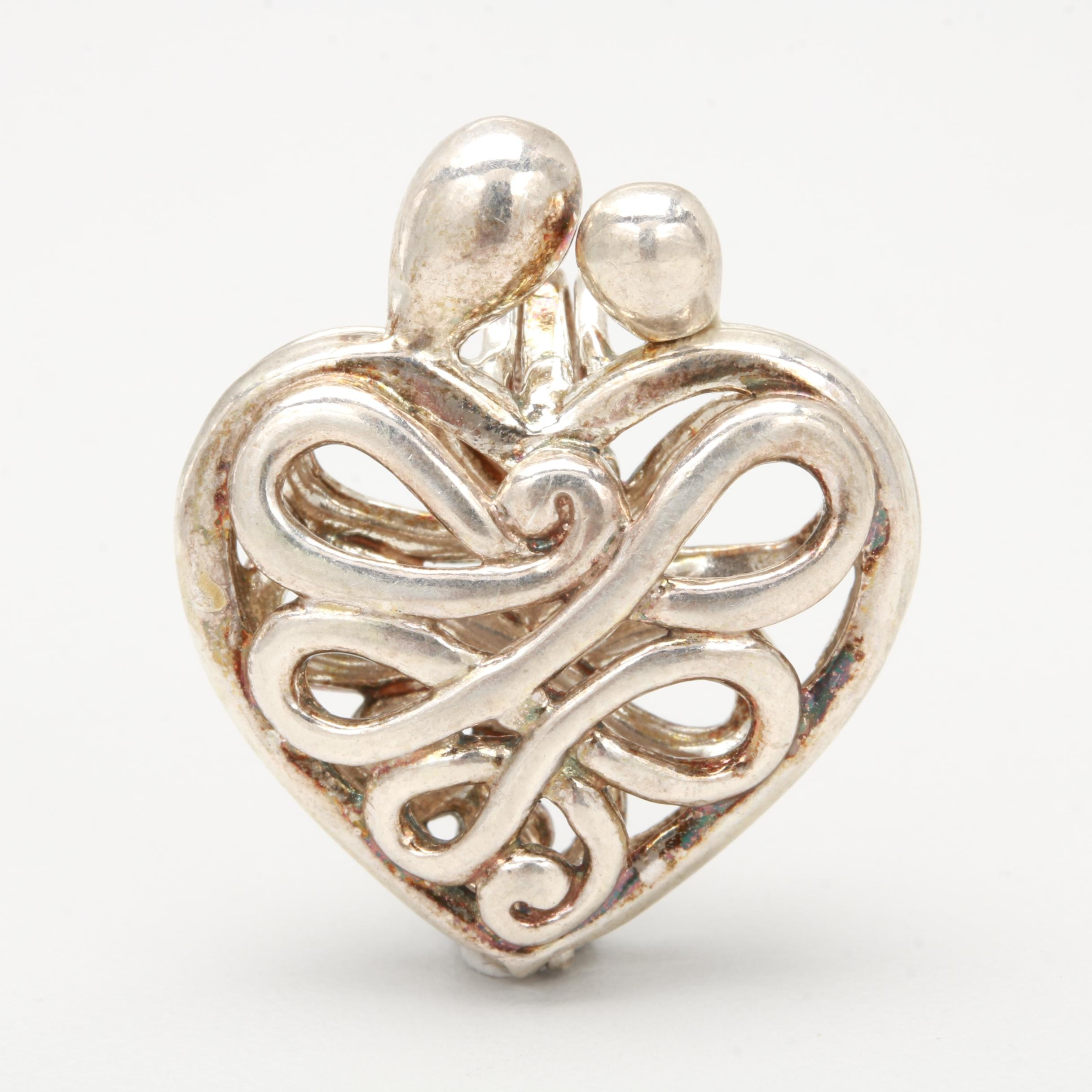 "Sterling Silver ""Mother and Child"" Heart Pendant"