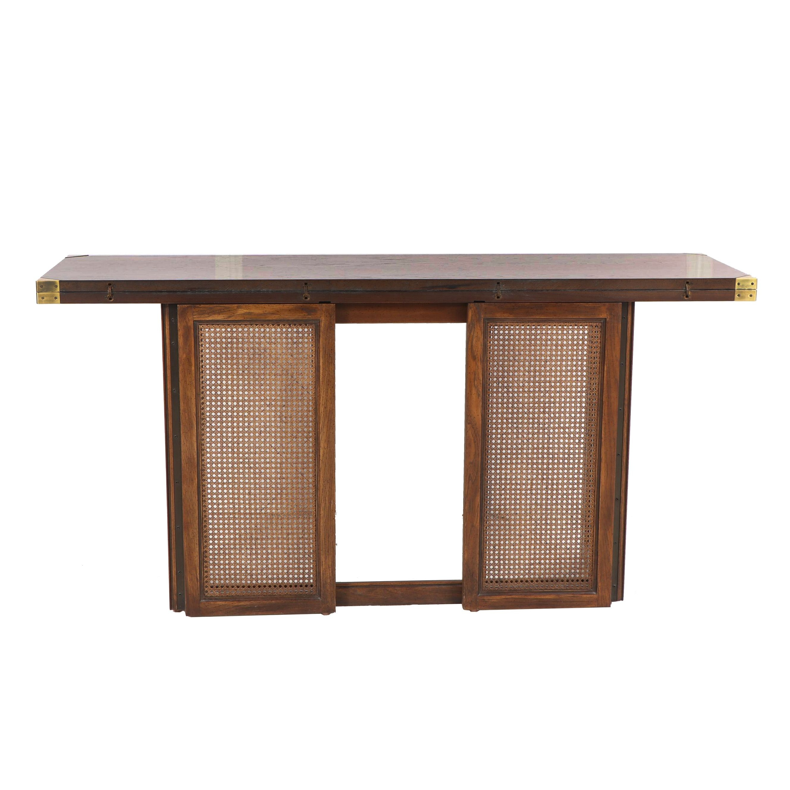 Walnut and Cane Panel Flip-Top Table, Mid-20th Century