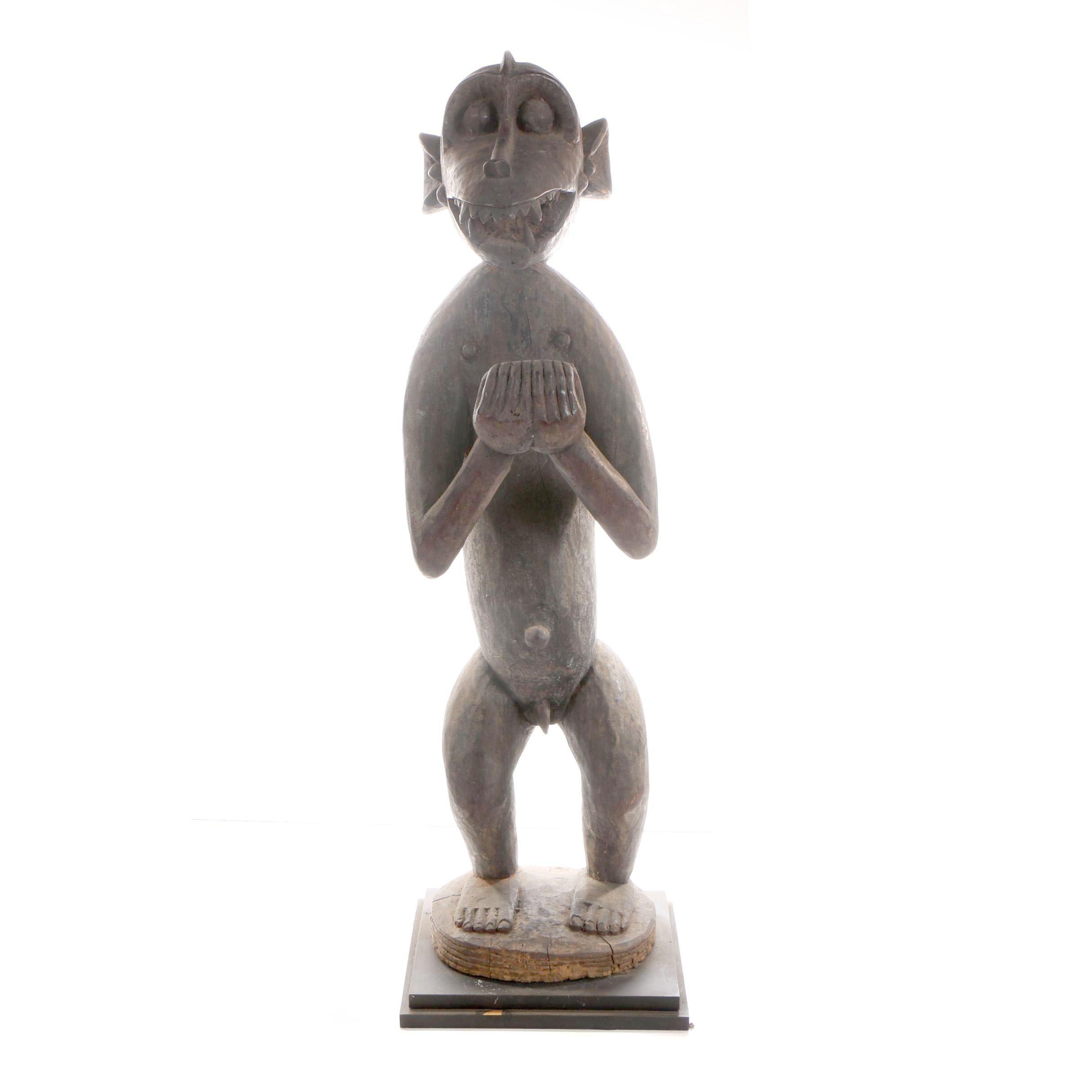 Baule Carved Wood Monkey Figure