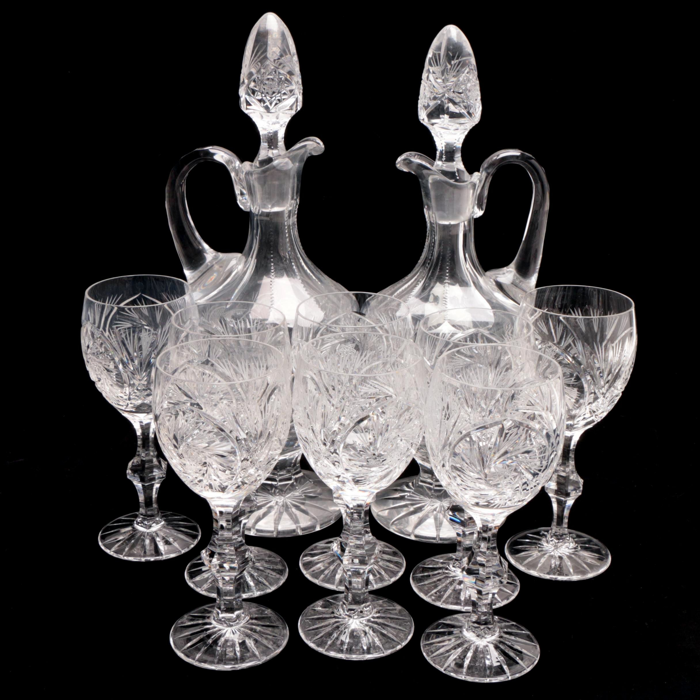 Hand-Cut Crystal Wine Glasses With Matching Claret Jugs