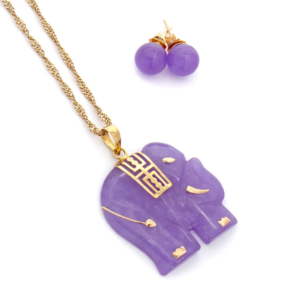 14K Yellow Gold Purple Jadeite Carved Elephant Pendant Necklace and Earrings
