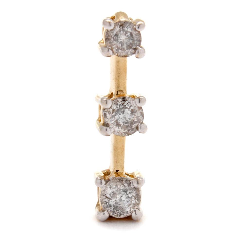 14K Yellow Gold Diamond Linear Drop Pendant