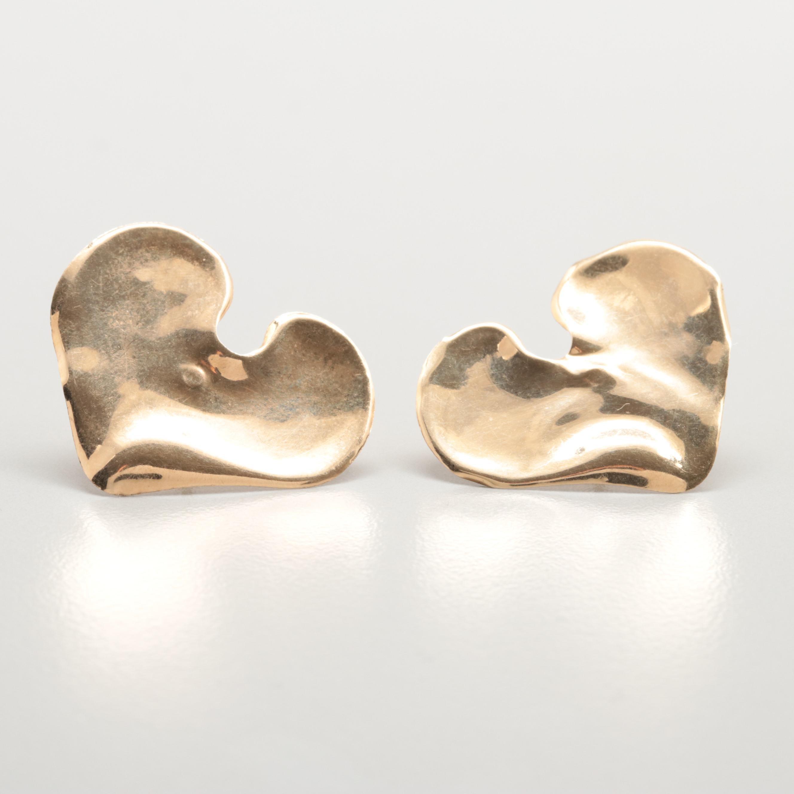 14K Yellow Gold Free Form Heart Earrings
