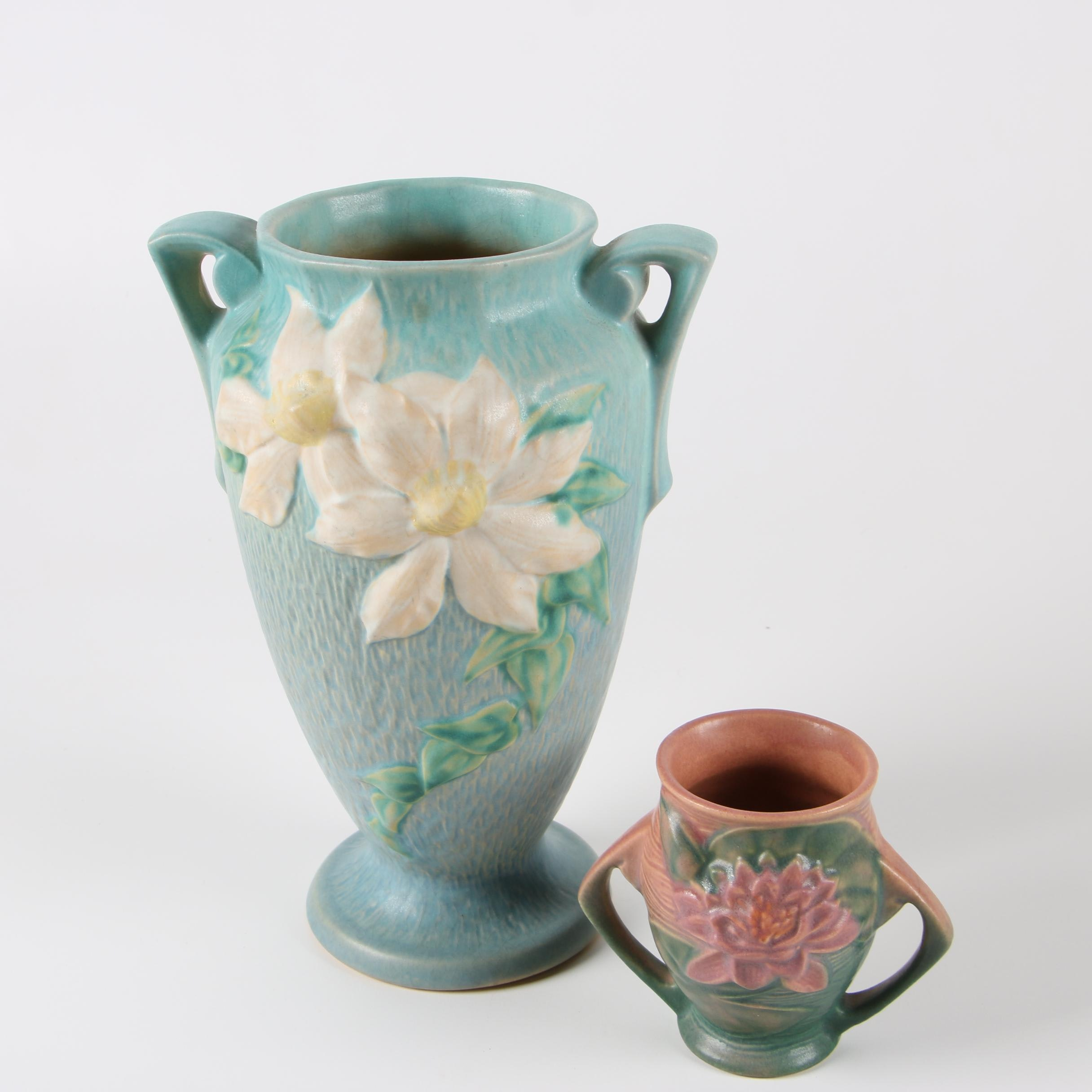 "Roseville Pottery ""Clematis"" and ""Water Lily"" Vases, 1940s"