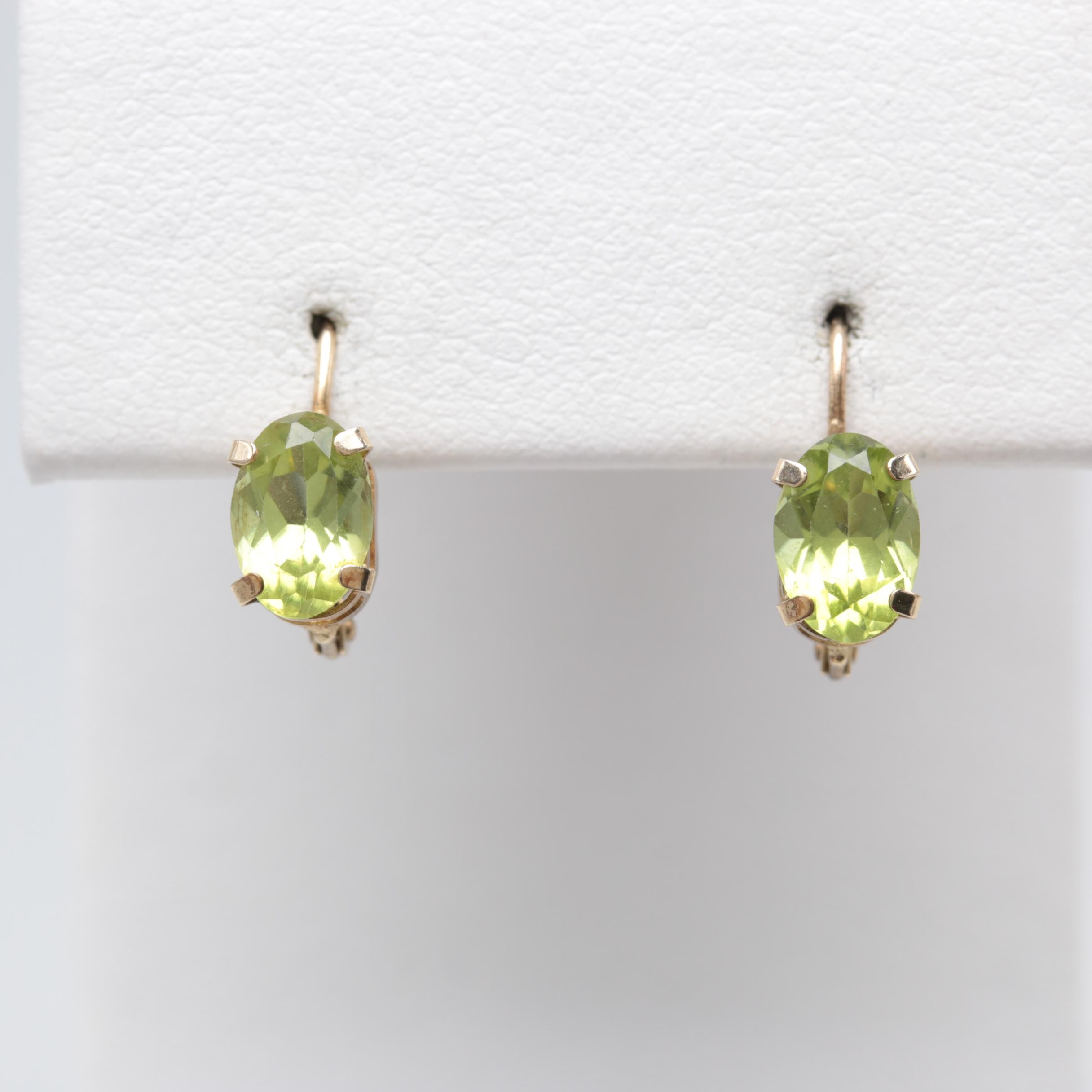 10K Yellow Gold Peridot Earrings