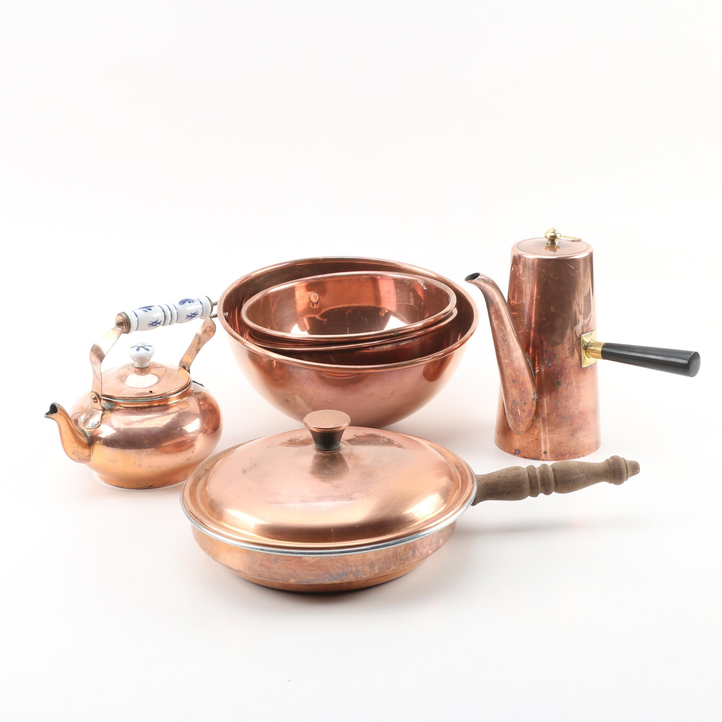 Vintage Copper Cookware and Serveware