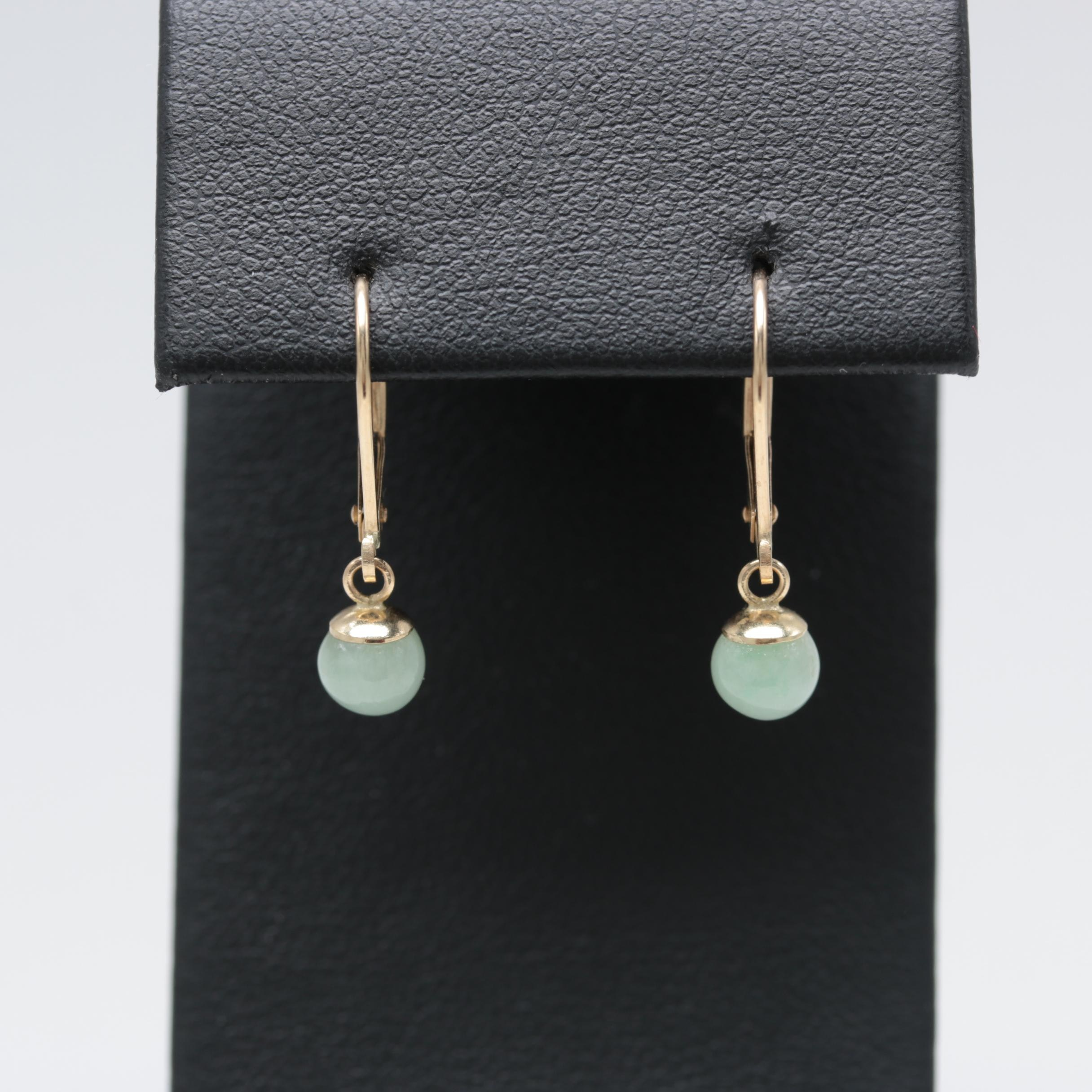 14K Yellow Gold Dangle Jadeite Earrings