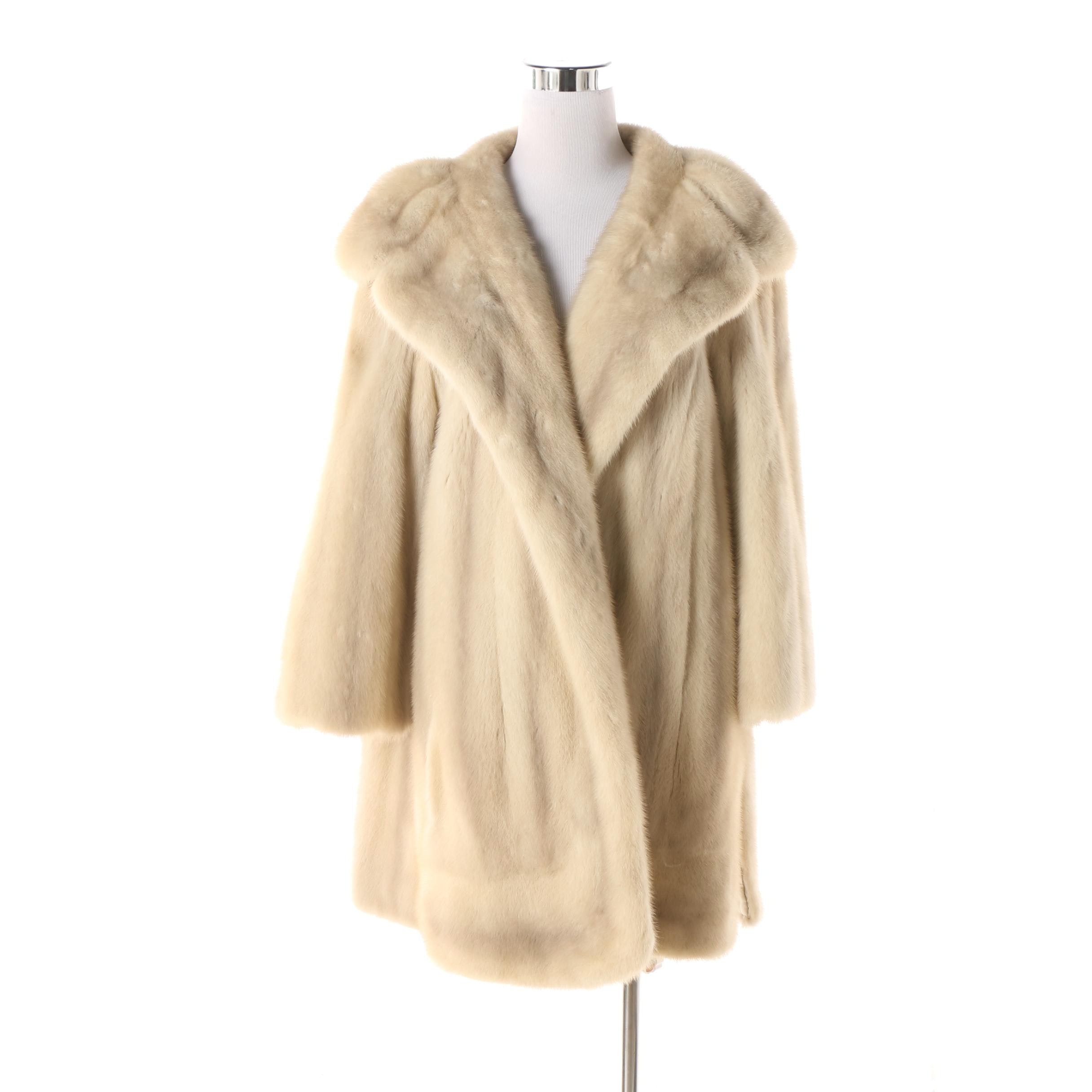 Women's Vintage Famous-Barr Fur Salon Blonde Mink Fur Coat with Shawl Collar