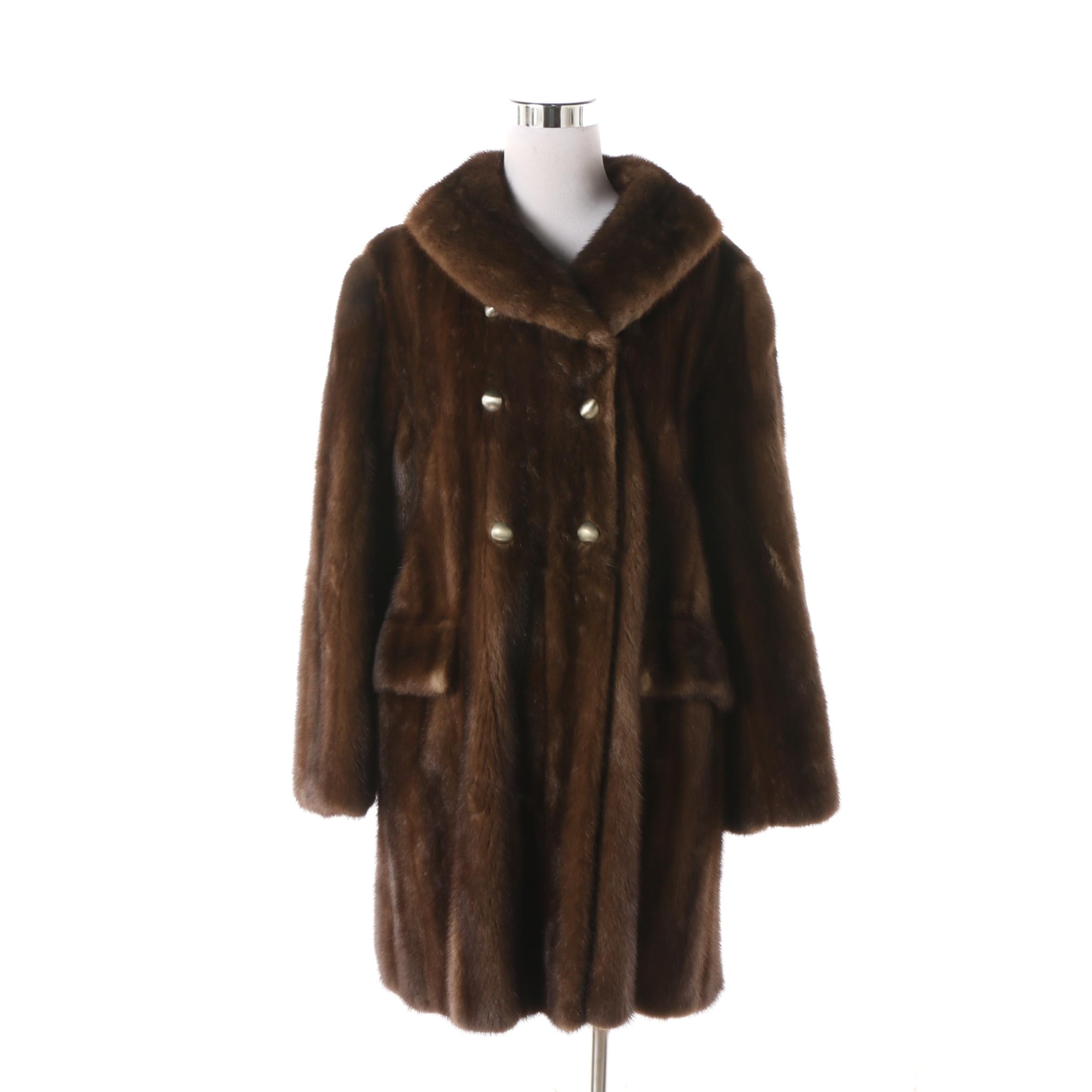Women's Circa 1960s Bonnie Cashin for HBA Furs Double-Breasted Mink Fur Coat