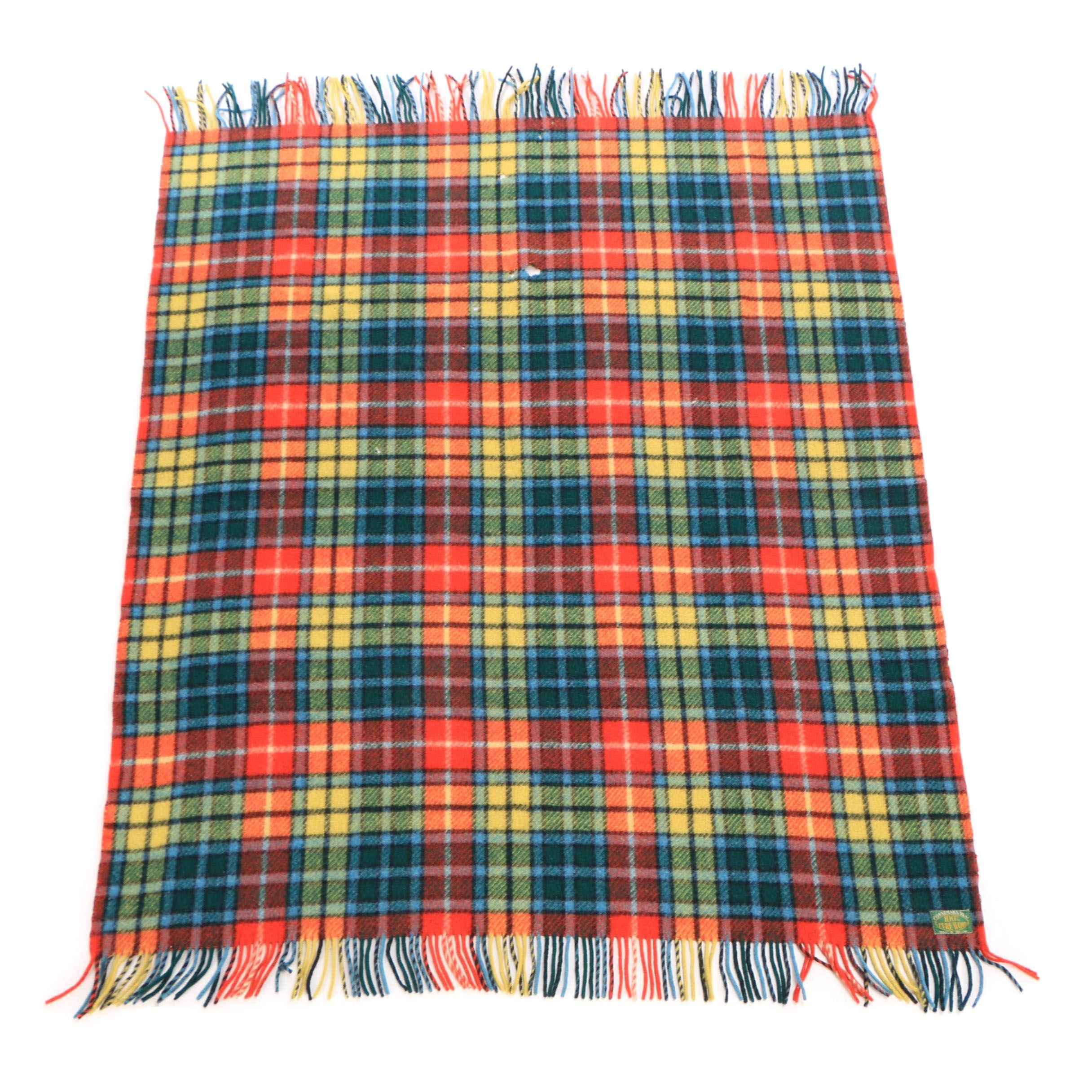 "Woven Irish Connemara Rug ""Buchanan Tartan"" Wool Throw Blanket"
