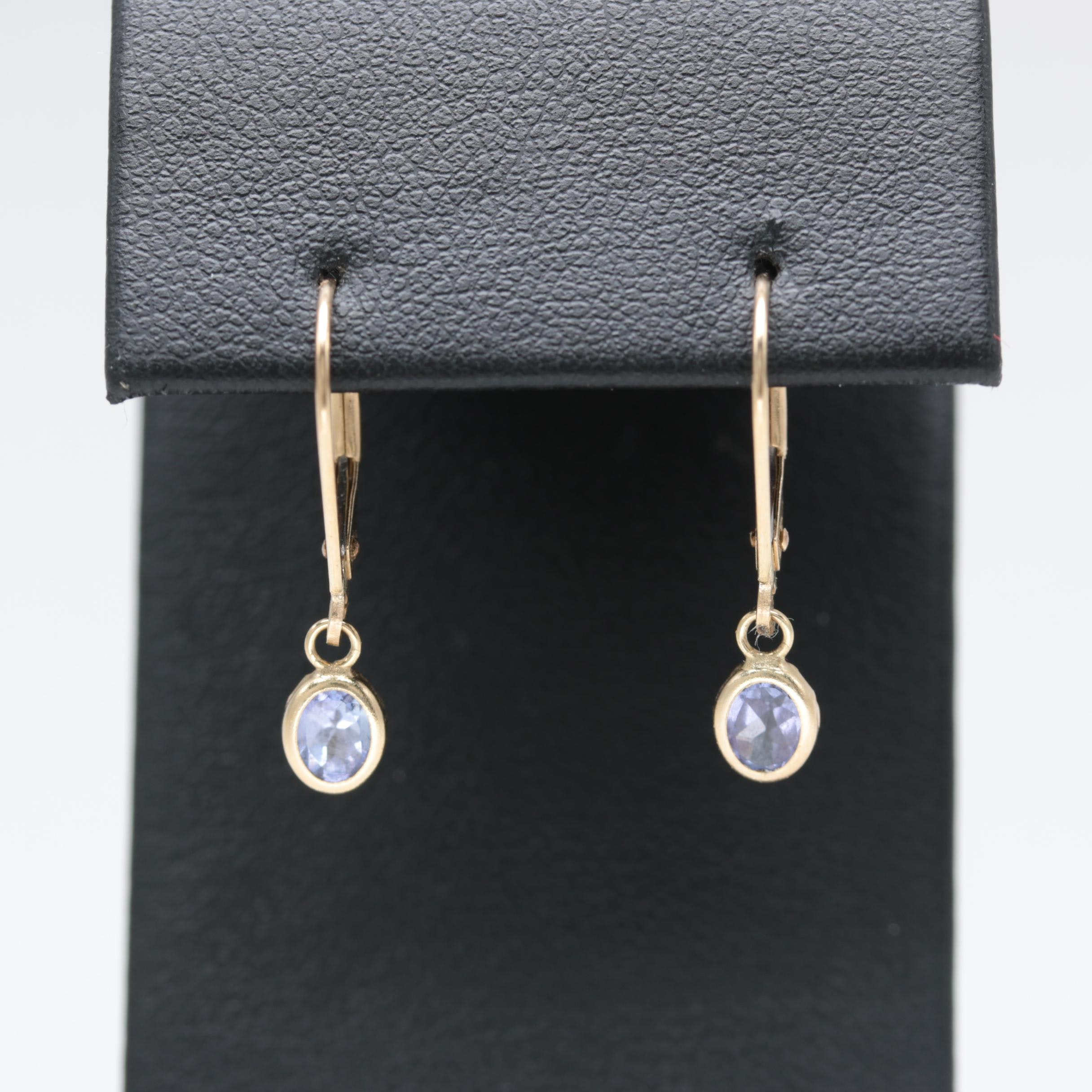14K Yellow Gold Tanzanite Earrings