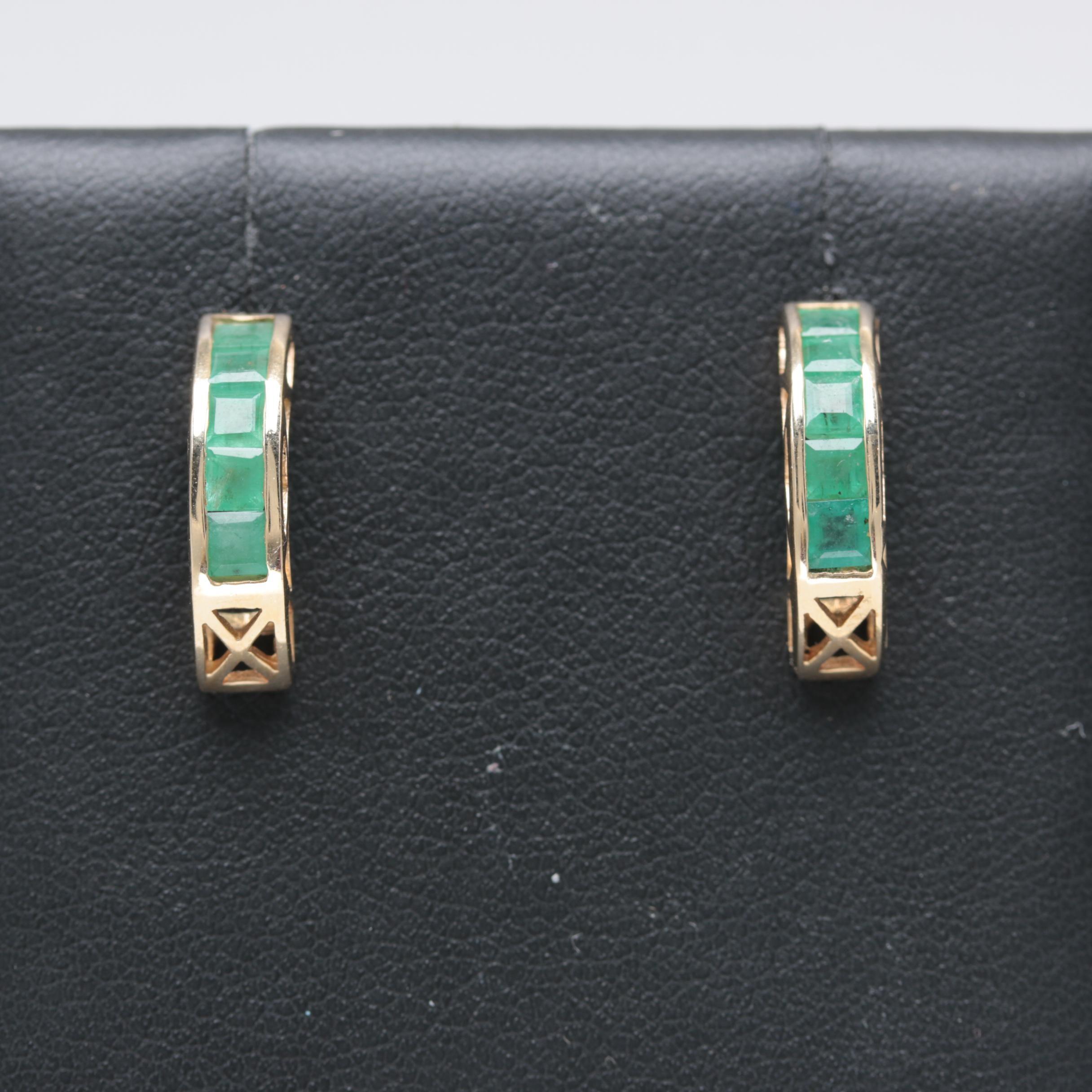 14K Yellow Gold Emerald Earrings