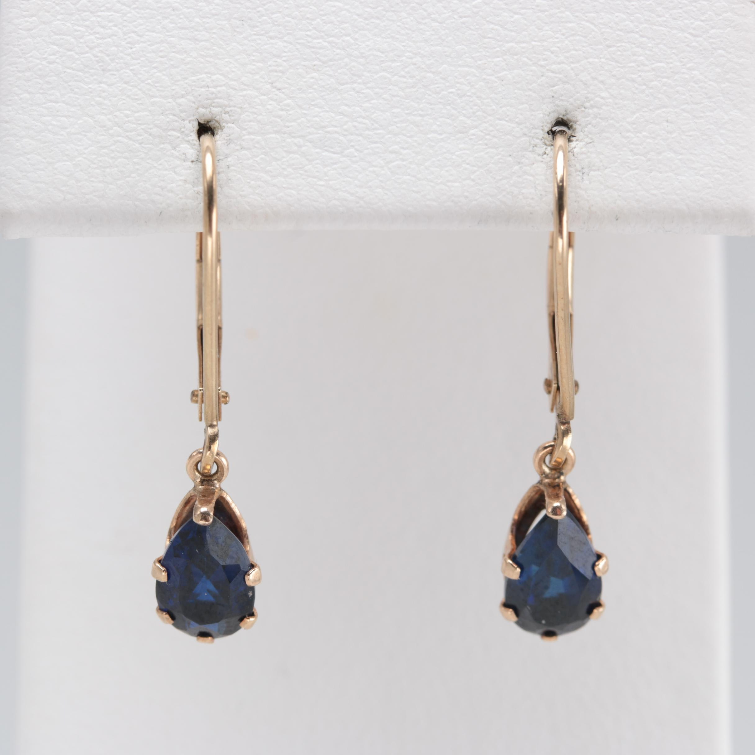 10K Yellow Gold Synthetic Blue Sapphire Earrings