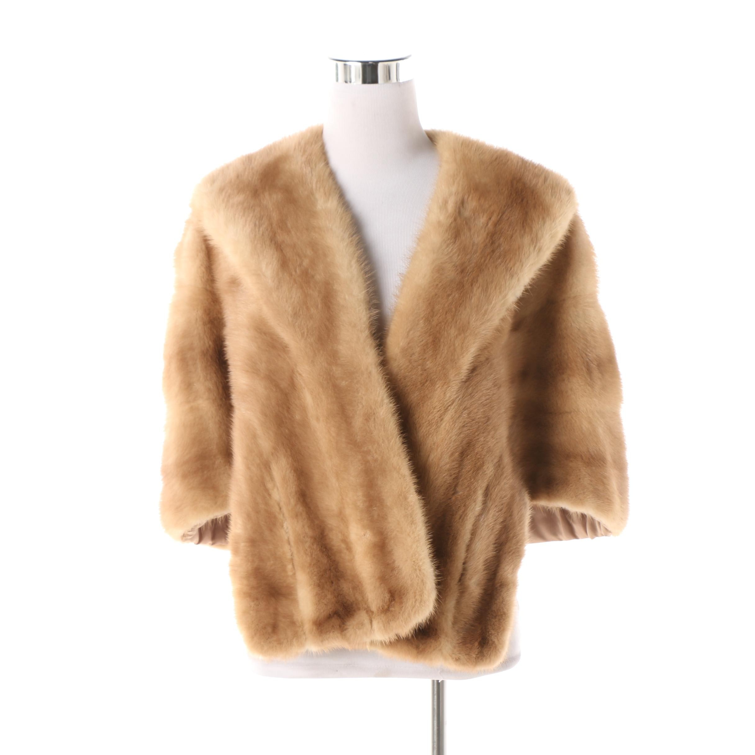 Women's Vintage Famous-Barr Fur Salon Blonde Mink Fur Stole