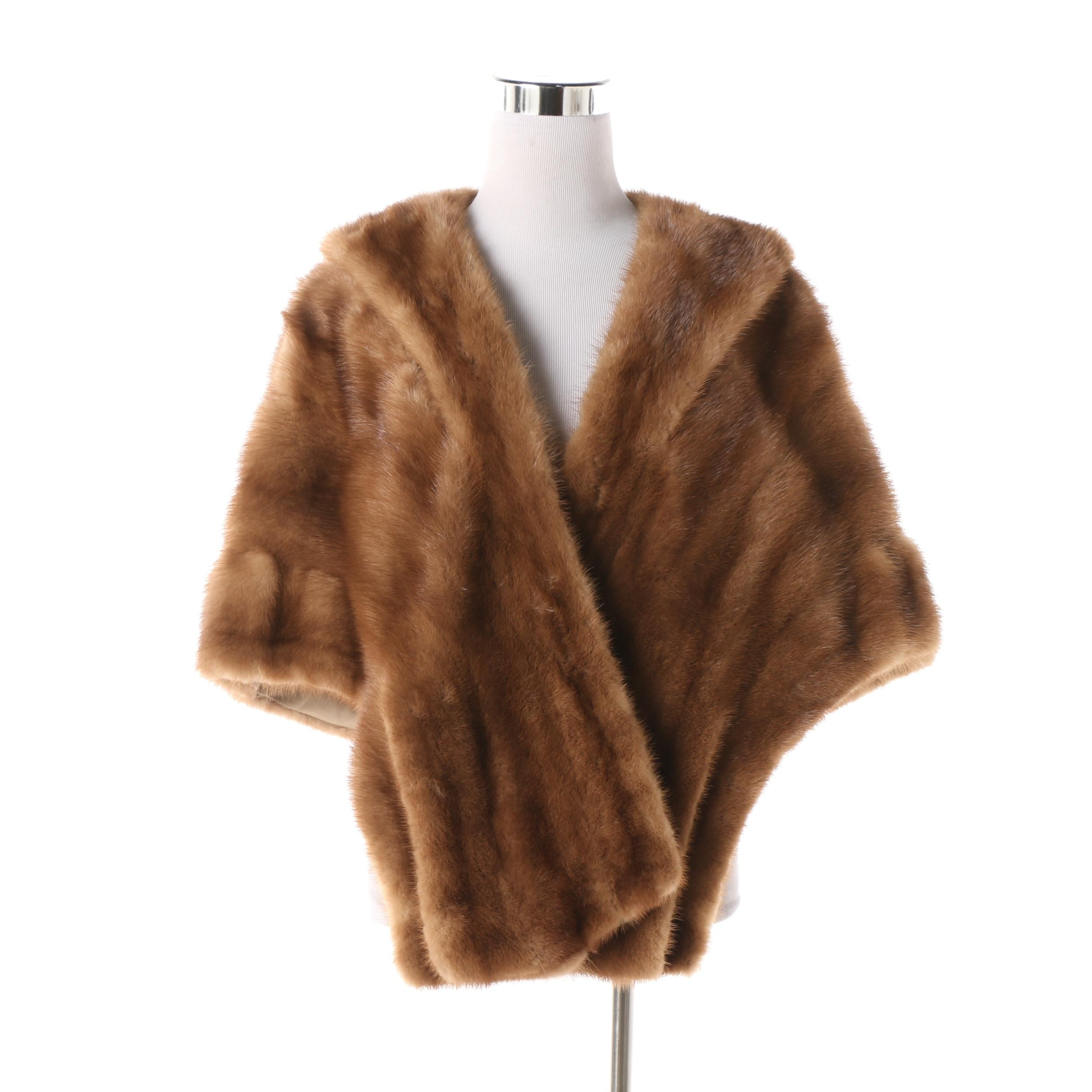 Women's Vintage George A. Hummel's Fur Salon Brown Mink Fur Stole