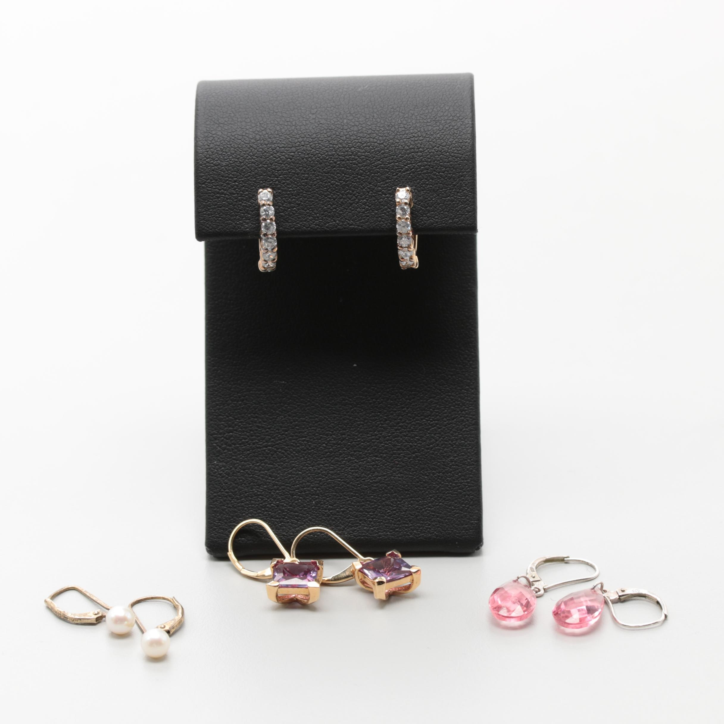 Sterling Silver Earring Selection Including Synthetic Sapphire and Gold Wash