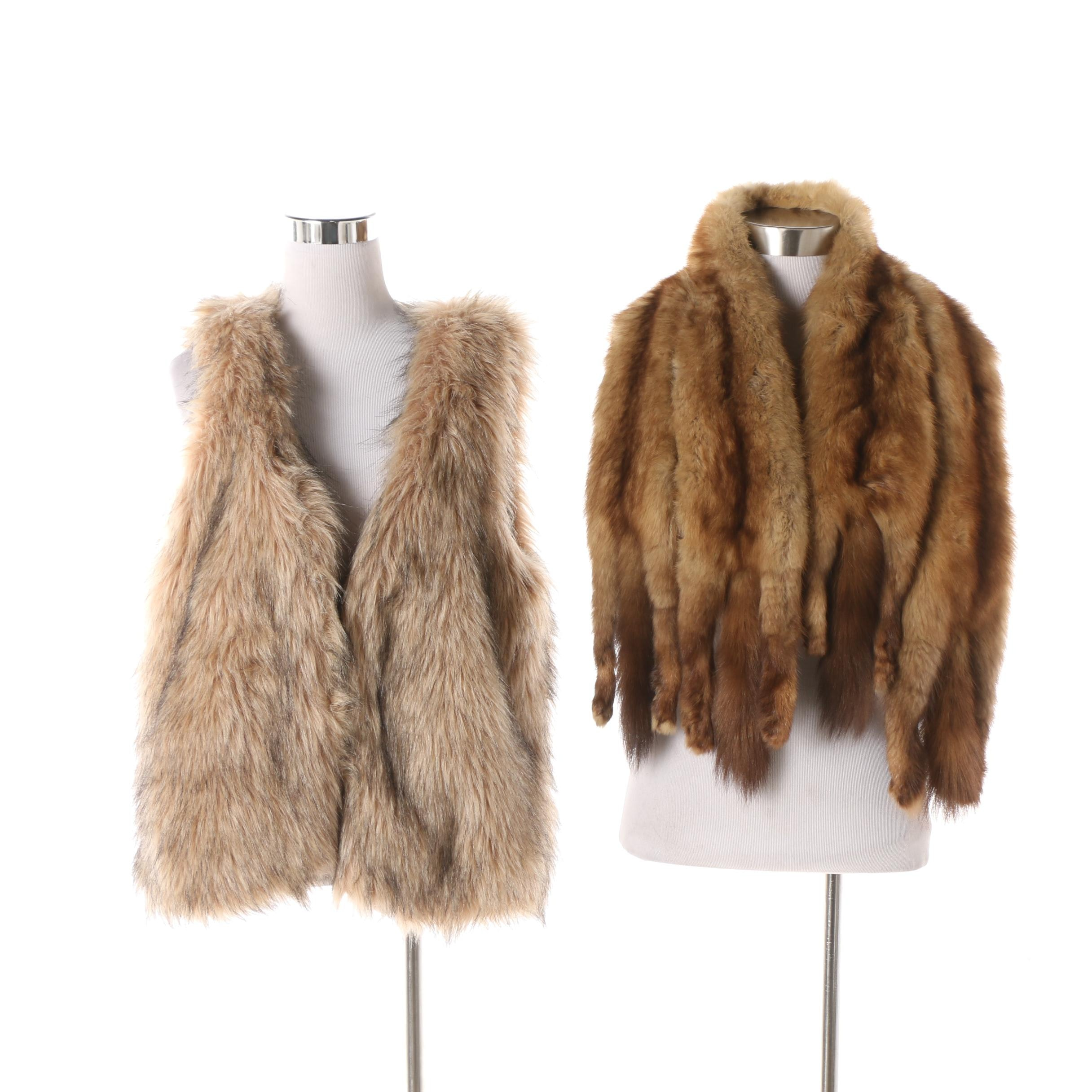 Material Girl Faux Fur Vest with Marten Fur Pelt Stole
