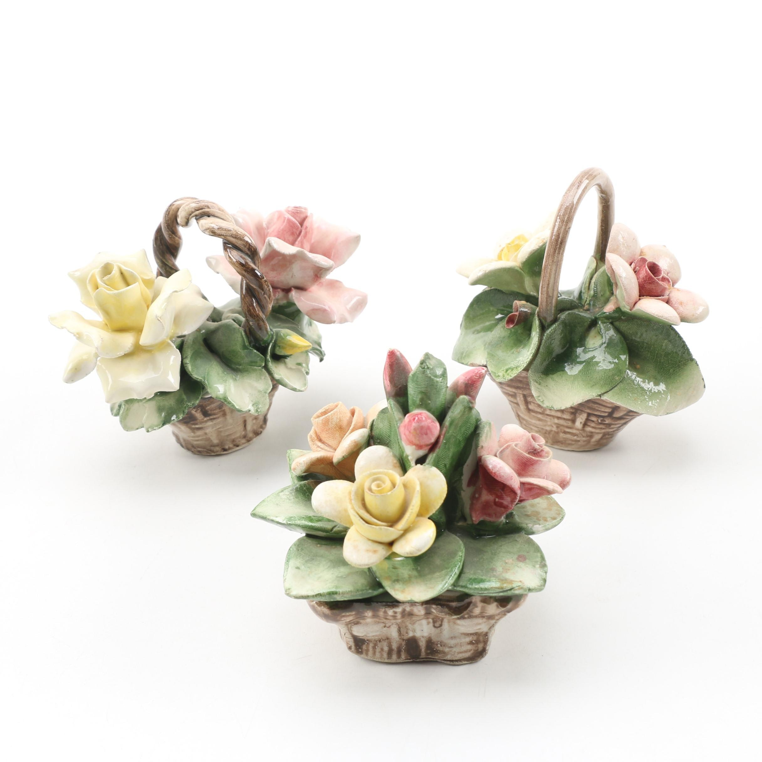 Capodimonte Porcelain Flower Figurines