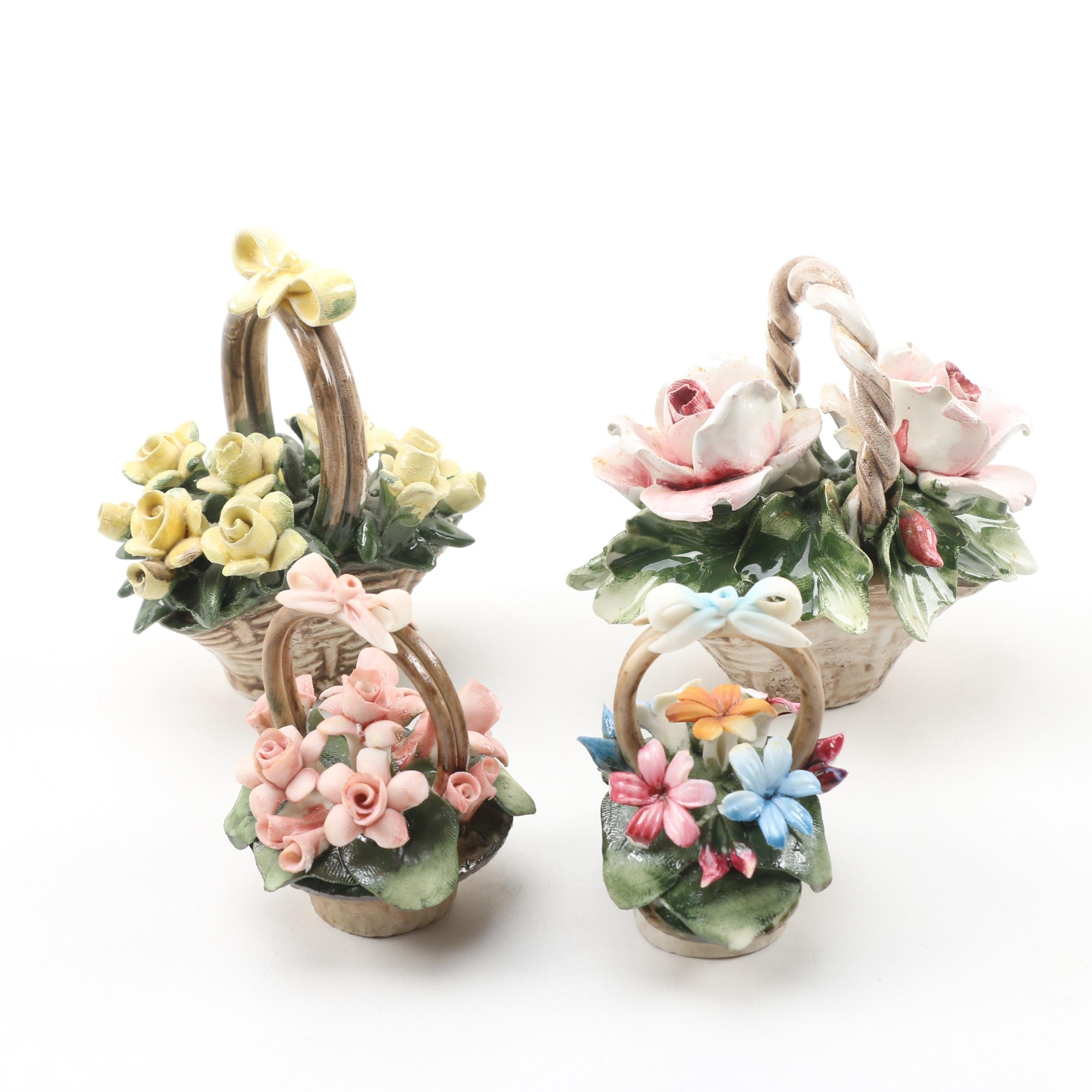 Capodimonte Hand-Painted Porcelain Flower Arrangement Figurines, 20th Century