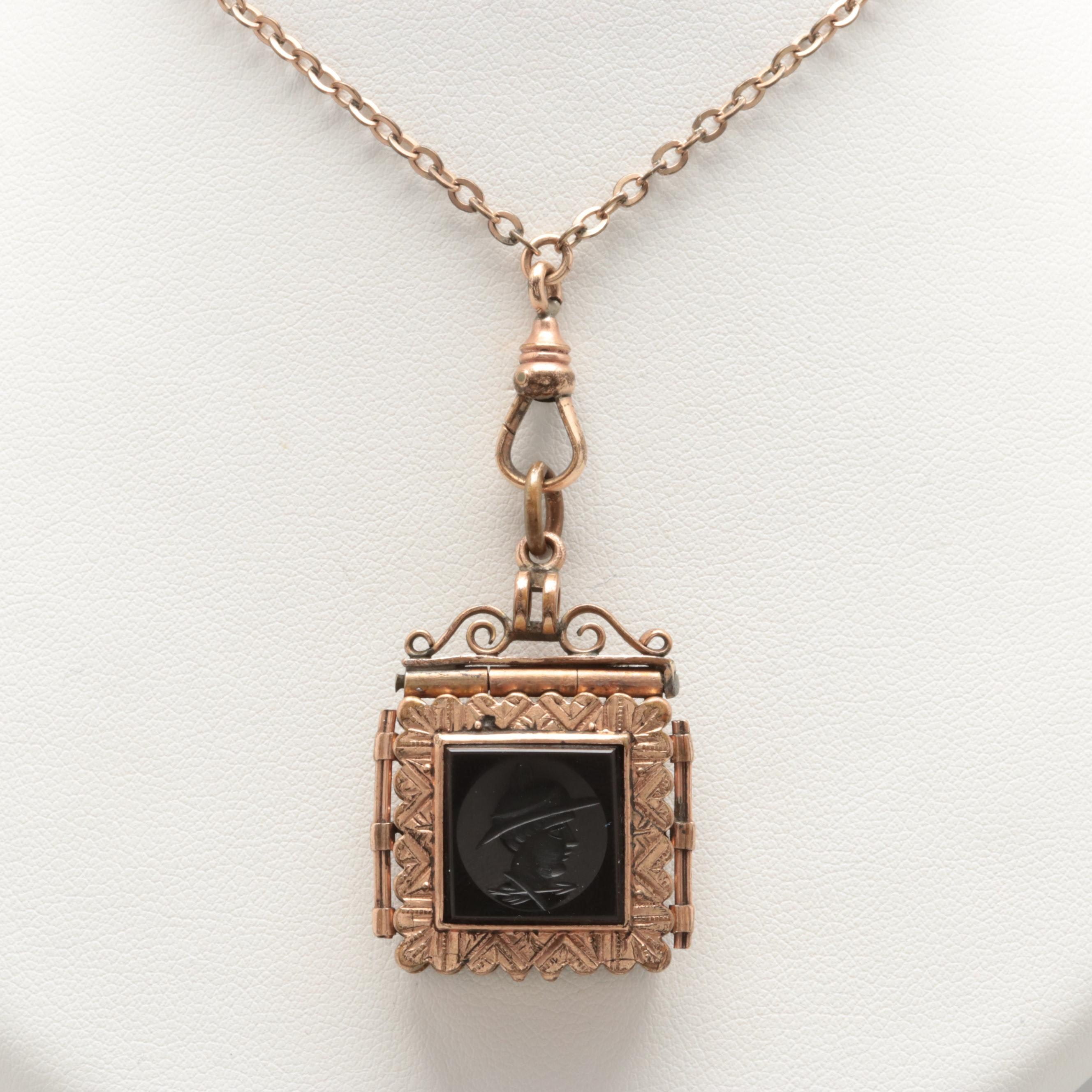 Victorian B & Co. Intaglio Onyx Locket With Glass and Imitation Pearl Fob Chain