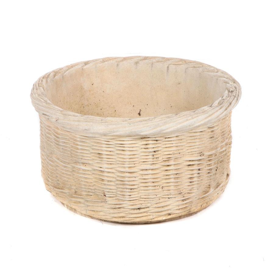 Painted Concrete Basket Weave Planter