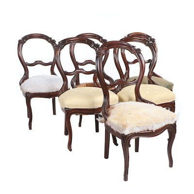 Victorian Style Mahogany Frame Upholstered Side Chairs, Early 20th Century - Vintage Chairs, Antique Chairs And Retro Chairs Auction : EBTH