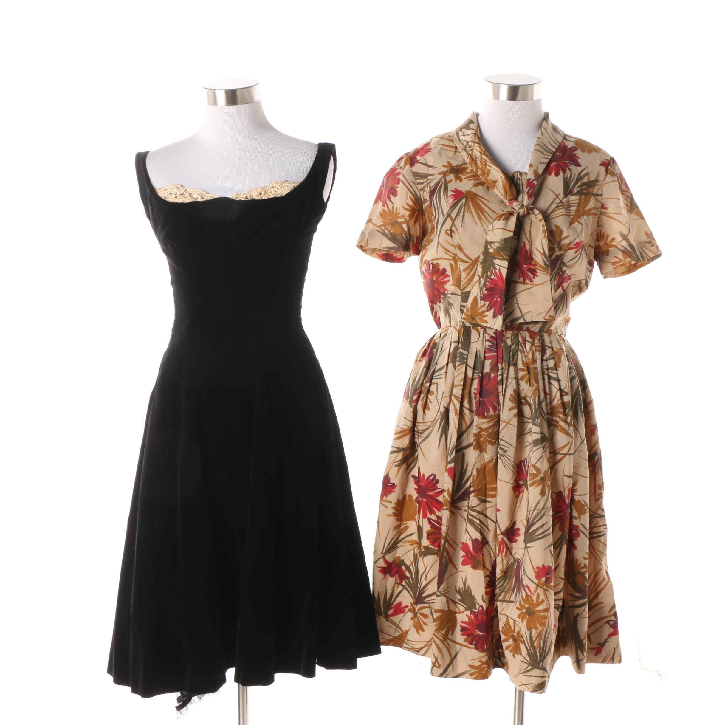 1950s Vintage Sakowitz Velvet Cocktail Dress and Stacy Ames Silk Casual Dress