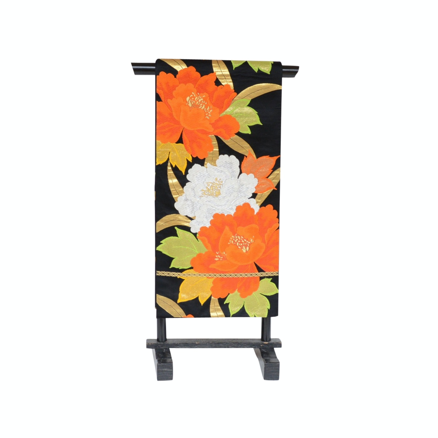 Japanese Embroidered Silk Obi with Stand