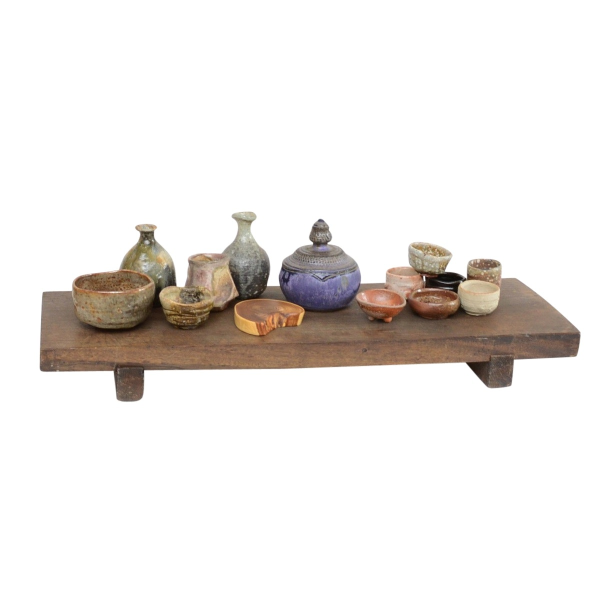 Stoneware Tea and Sake Bowls with Wooden Plank Serving Tray