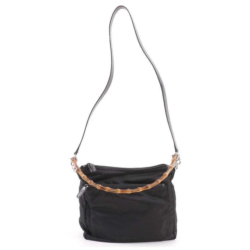 Gucci Black Nylon Bamboo 2Way Shoulder Bag   EBTH 663148d37327c