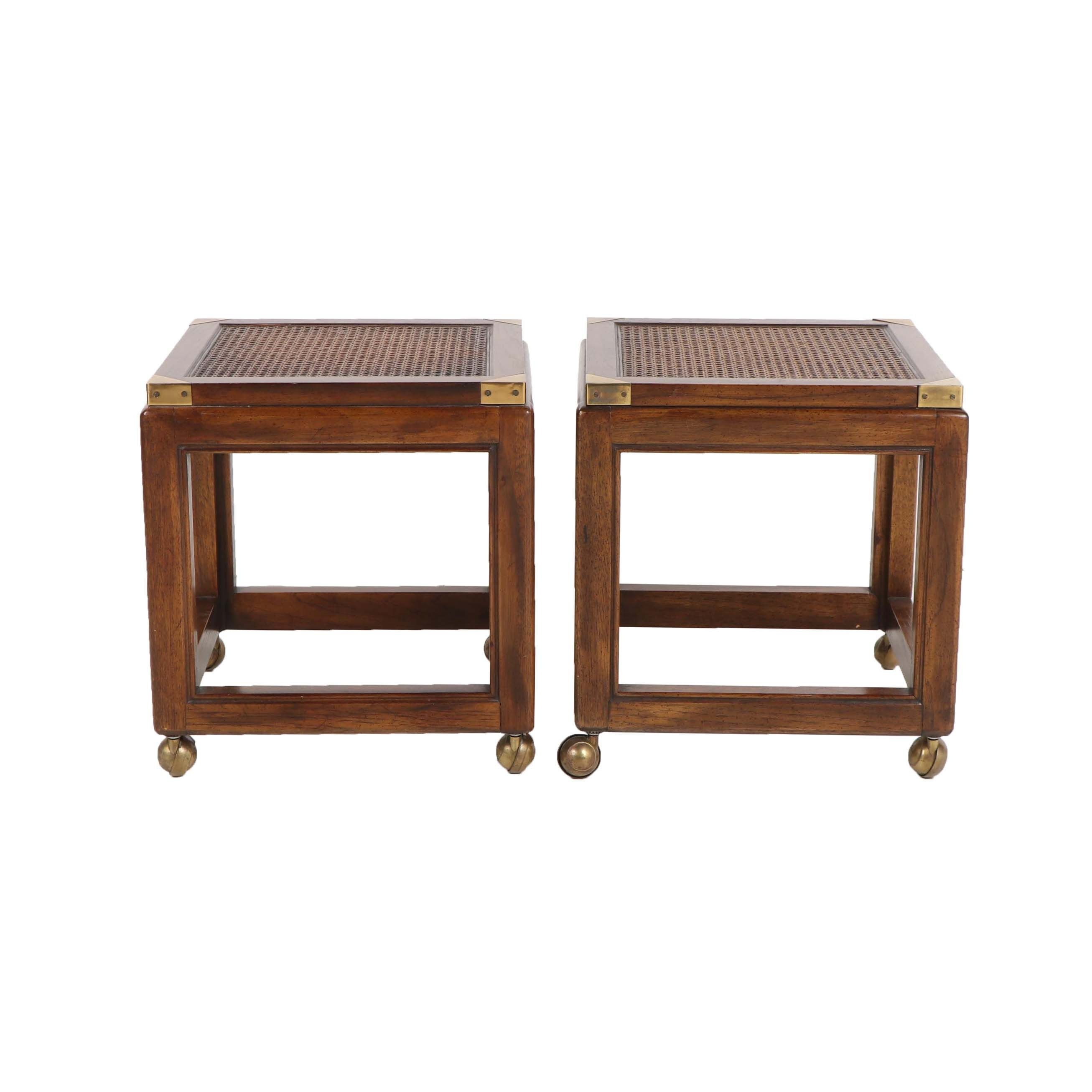 Walnut and Cane Panel Side Tables, Mid-20th Century
